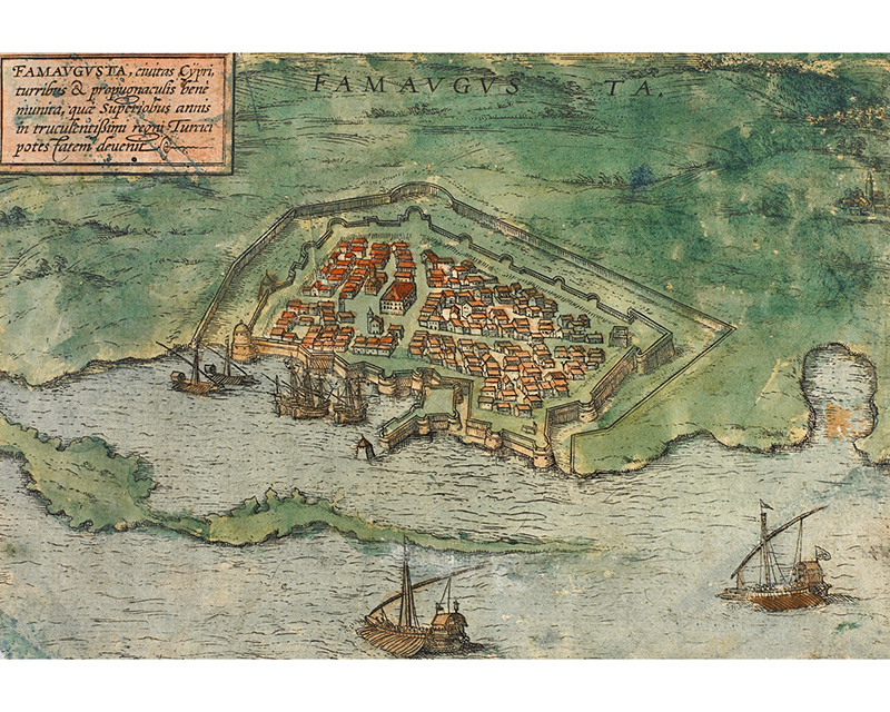 Town plan and view of the mediaeval city and port of Famagusta.Map drawn by Braun, G. & Hogenberg, F. (First appearance: Cologne, 1572).