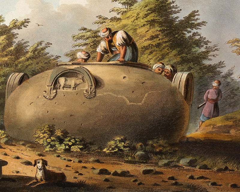 A colossal vase at Amathus, Limassol, Cyprus (detail).The original painting by Luigi Mayer was first published as an aquatint in 1803.