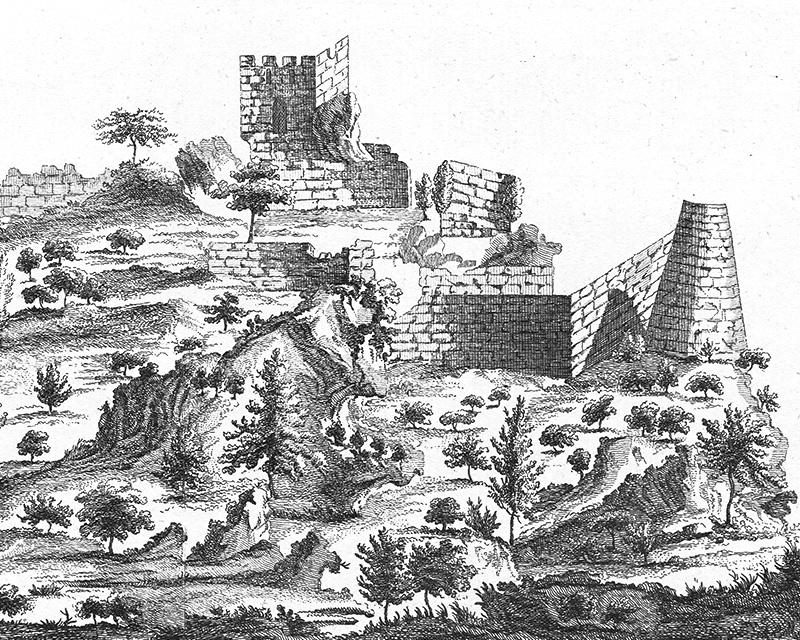 West view of Kantara Castle - engraving (detail) - Alexander Drummond, 1754.