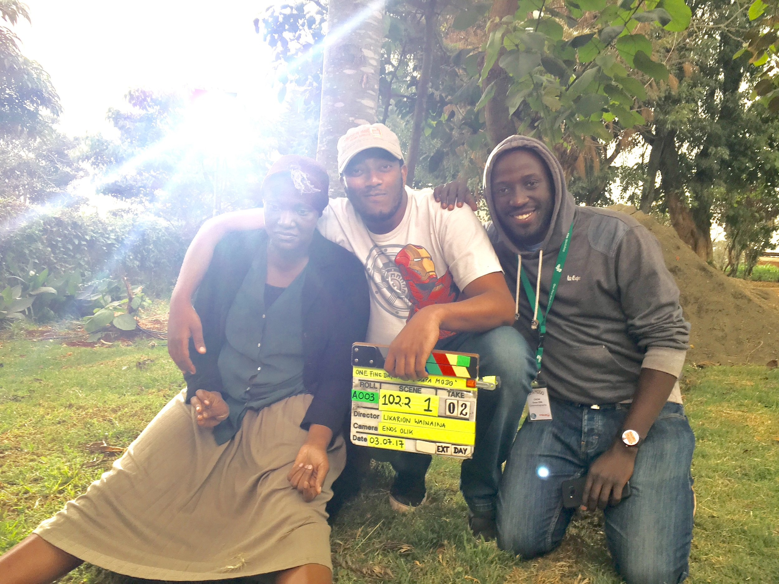 Maryanne Nungo as Kathryn, director Likarion Wainaina and cinematographer Enos Olik.