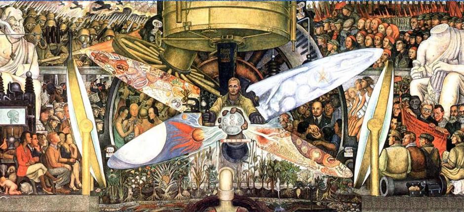 Wandgemälde von Diego Rivera am Rockefeller Plaza, 1993. Das von der marxistischen Ideologie inspirierte Auftragswerk wurde kurz nach seiner Enthüllung vernichtet.