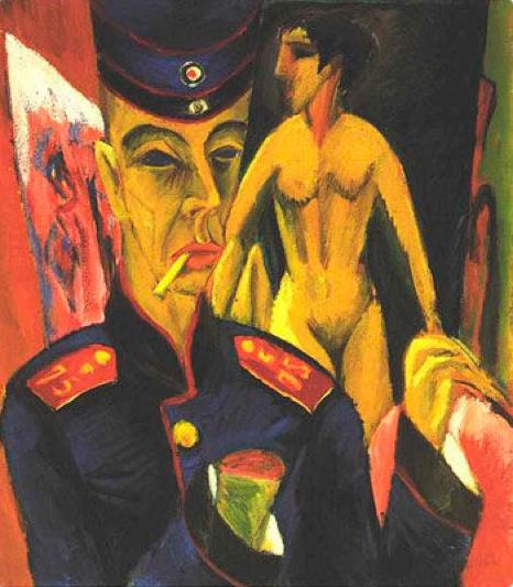 Ernst Ludwig Kirchner, Selbstbildnis als Soldat (1915). Reflexion über das Gefühl der politischen Instabilität während der expressionistischen Zeit.