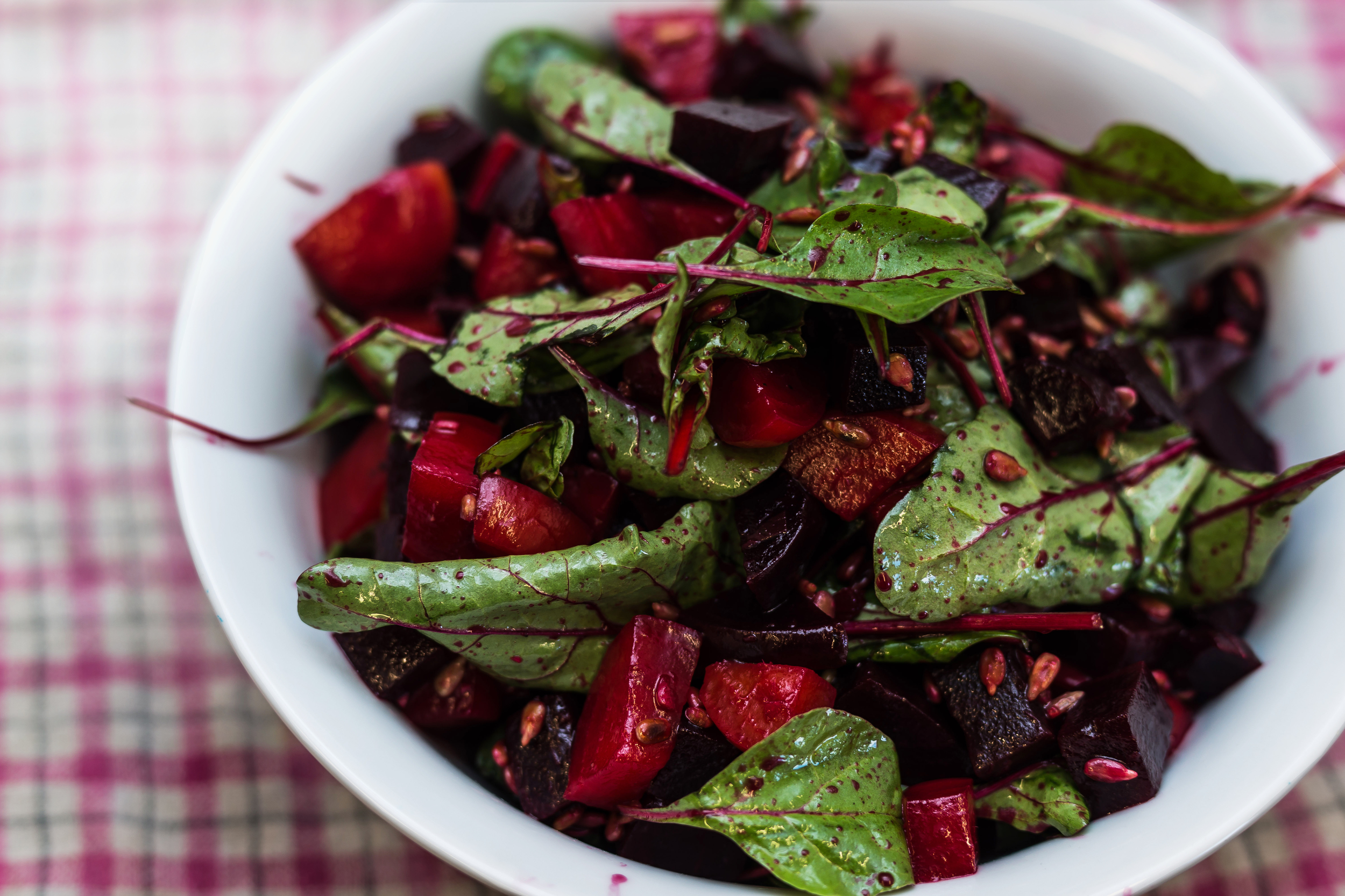 Red and gold beetroot salad with maple syrup & sherry vinegar dressing