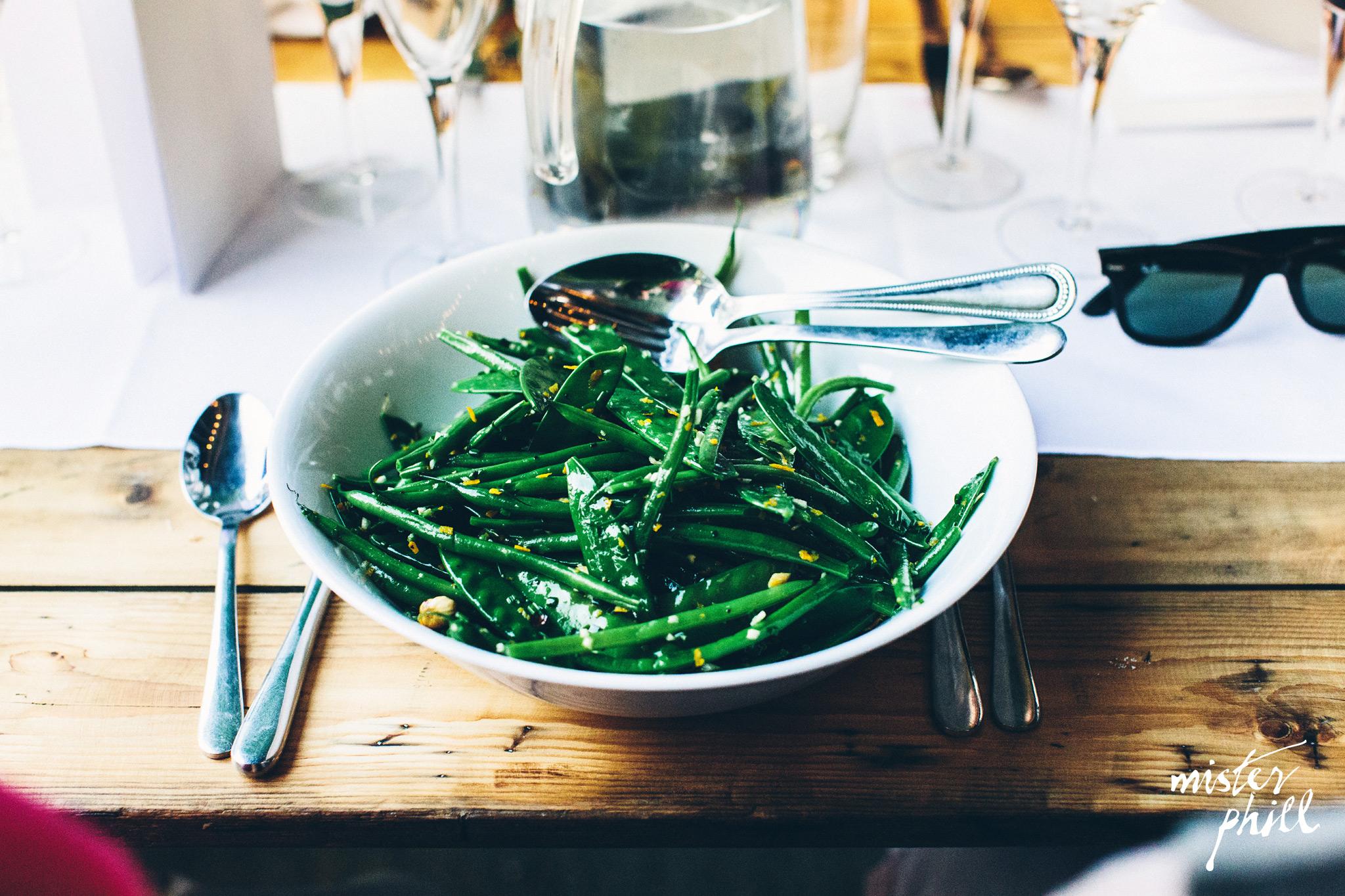 French beans, mange tout, hazelnuts & orange salad