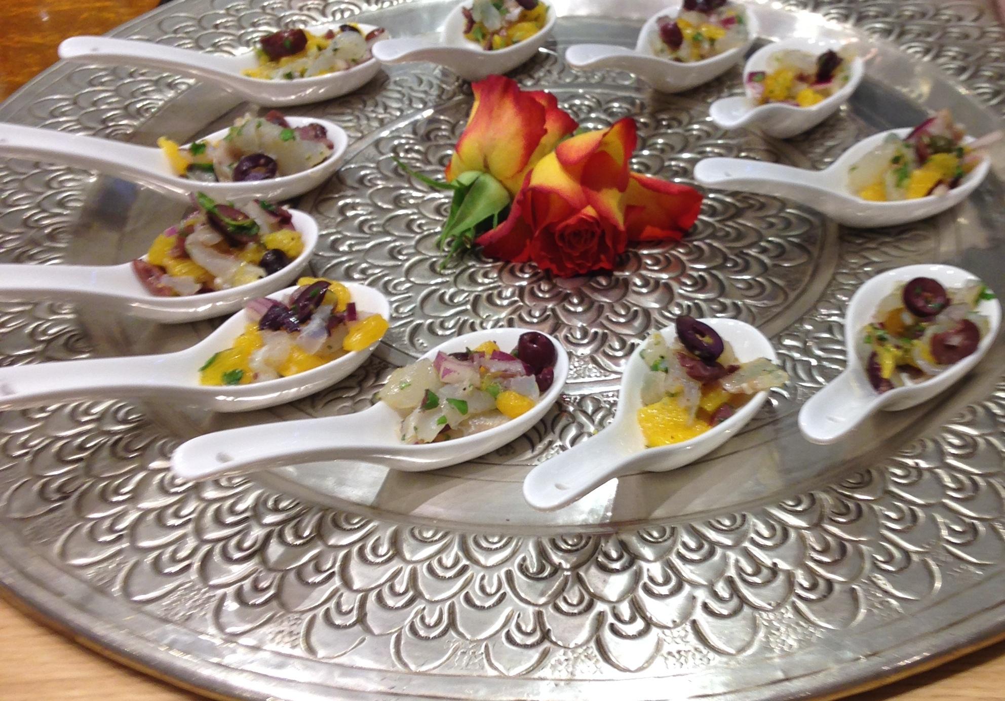 Orange marinated cod salad