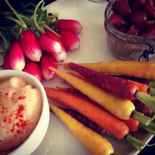 Mezze Rabbit roulettes with dressed gooseberries,Homemade taramasalata & crudities
