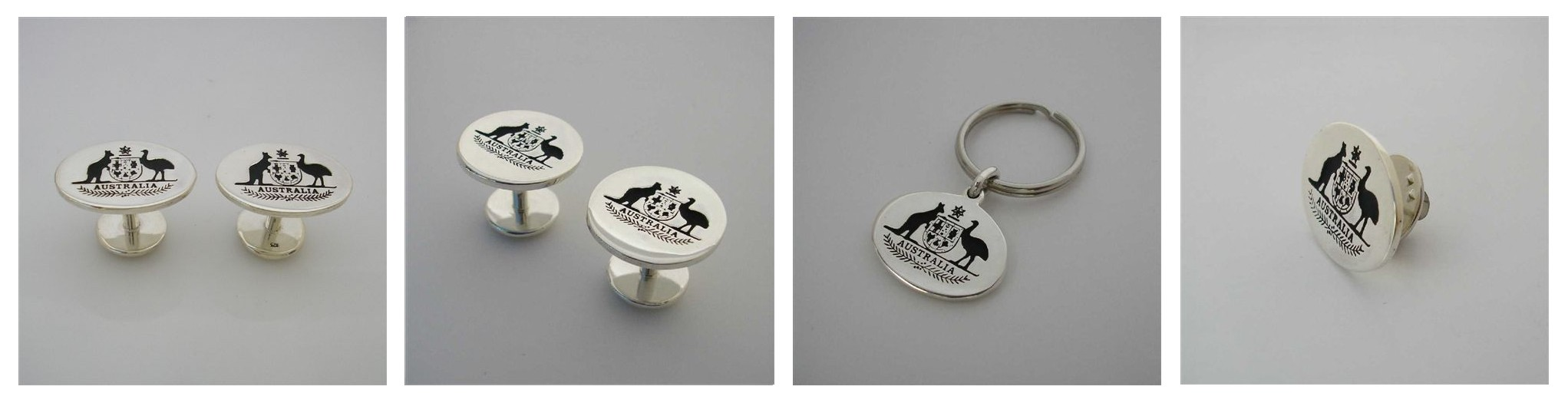 Commissioned by the Prime Minister of Australia and Cabinet  to create the Australian Coat of Arms , Cuff Links Key Rings and Lapel Pins .