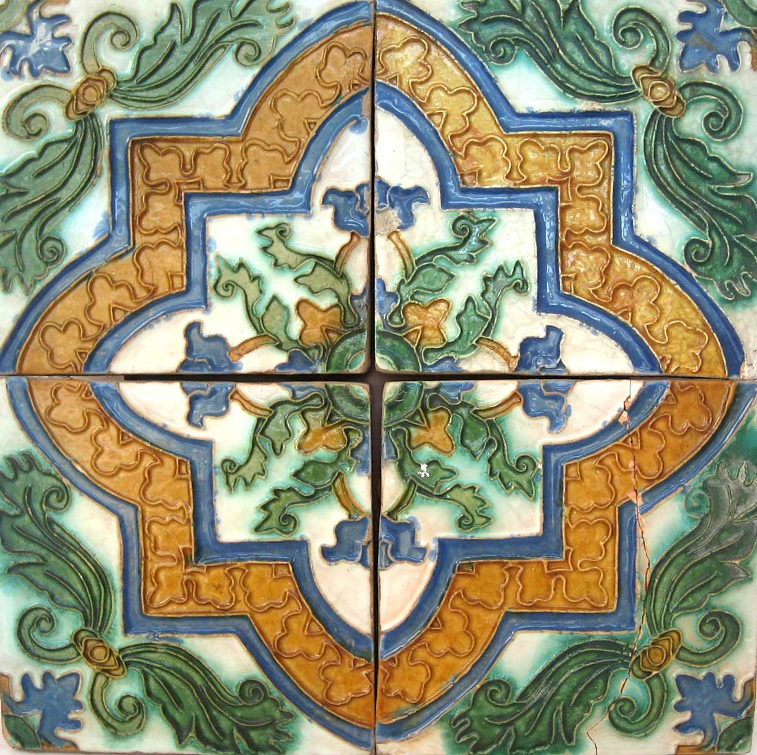 Some motifs were formed with a single tile and others with four tiles.