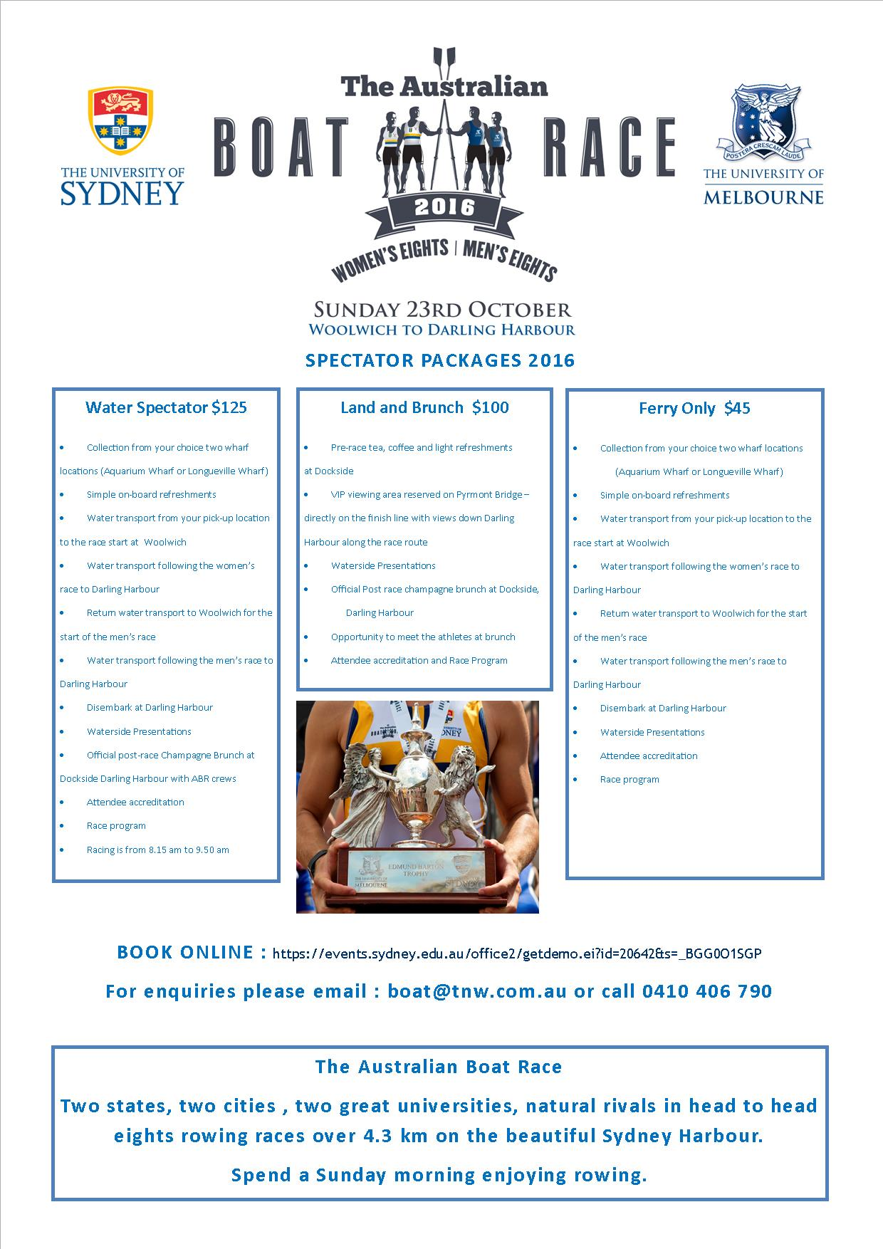 Australian Boat Race 2016 Spectator Packages V1 24 June 2016
