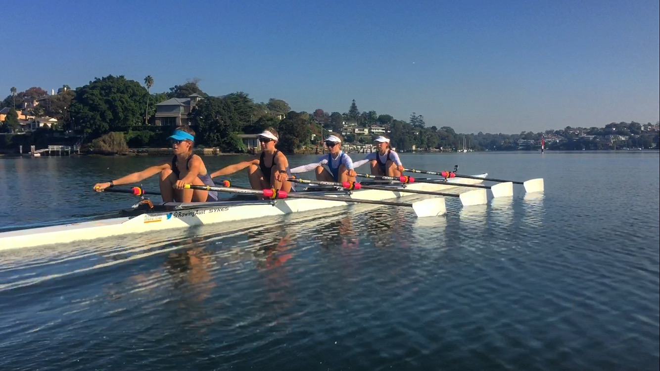 Aus U23 Lightweight Quad training at Lane Cove for U23 World. Coached by Alfie Young of SUBC and including Wallis Russell.