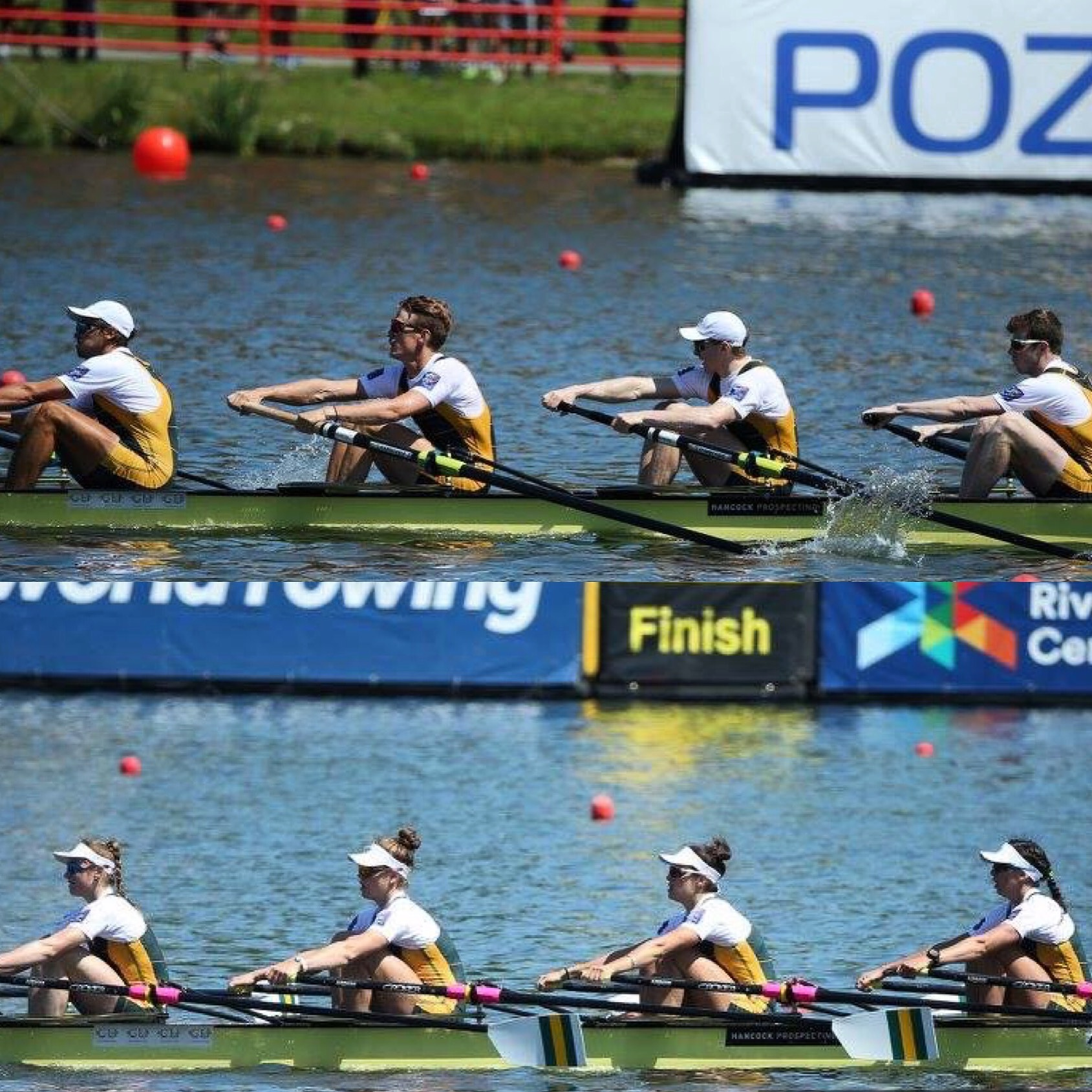 World Cup II - AUS Men's four taking gold, and Women's quad taking Silver at World Cup II.JPG