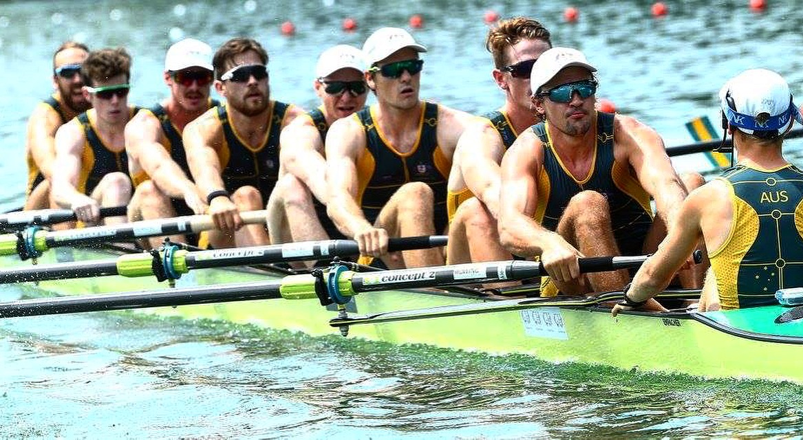 2017 Aus men's Eight taking silver at World Cup III Lucern with Alex Purnell, jack Hargreaves and Hamish Playfair