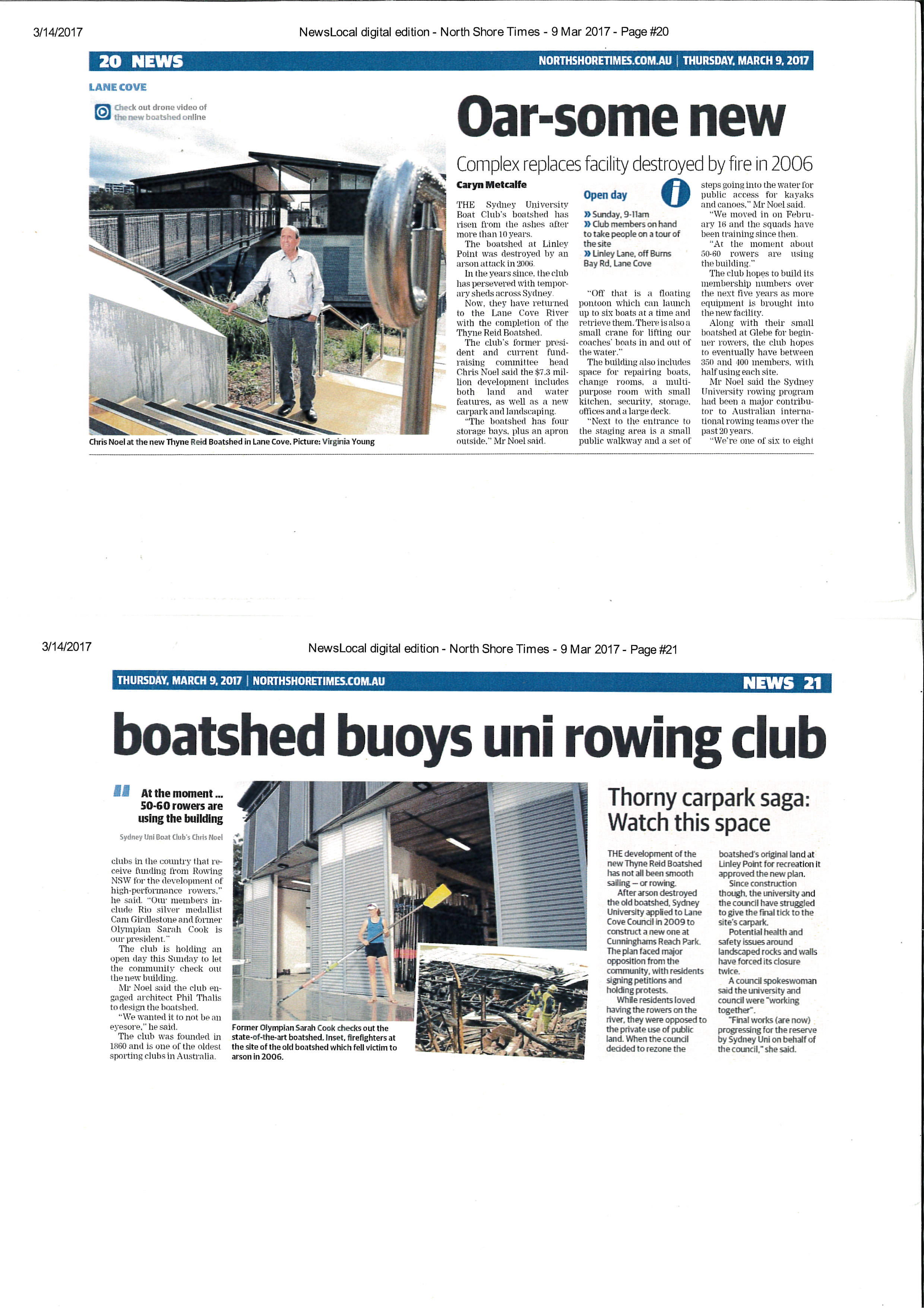 newspaper articles on opening of new boatshed.jpg