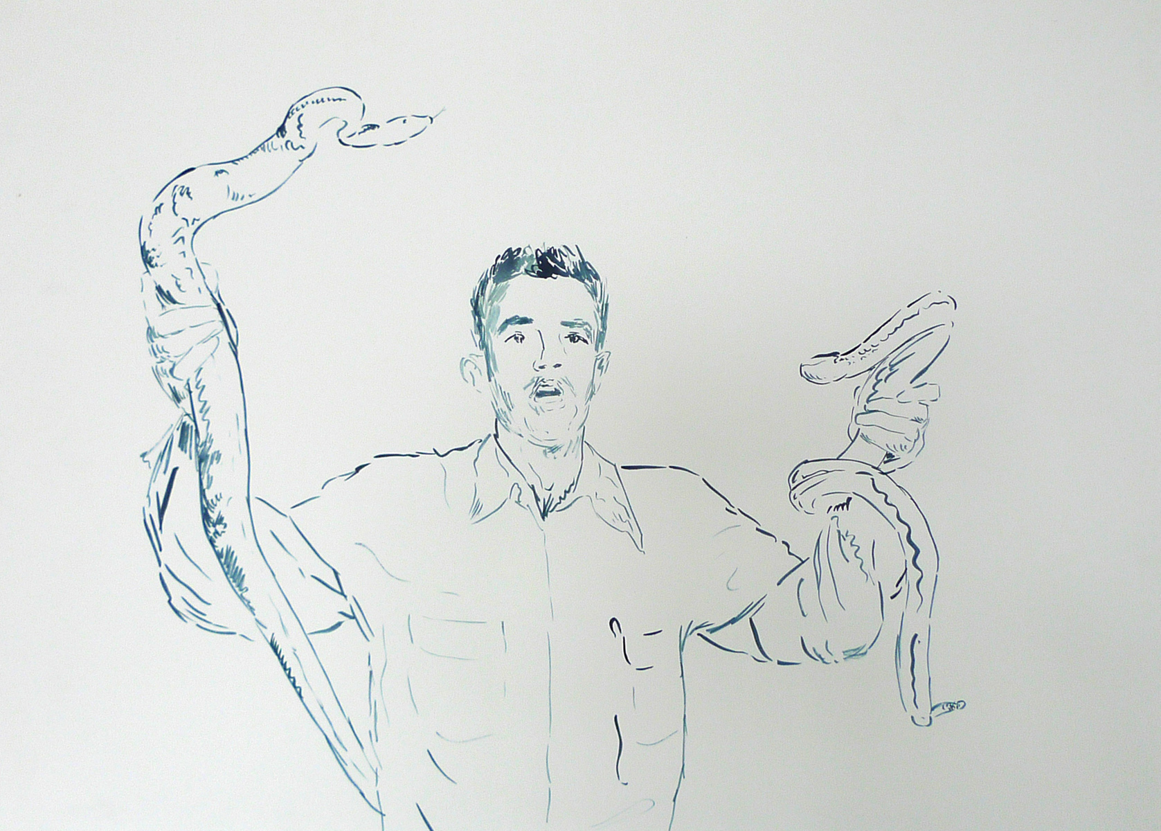 Man Holding Two Snakes