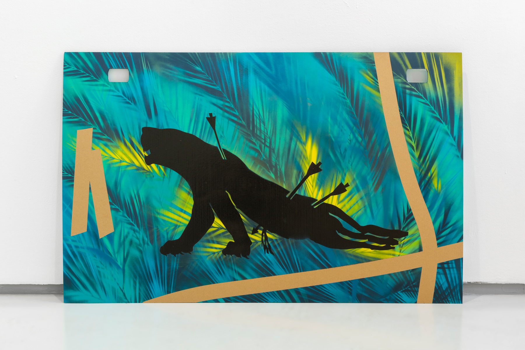 Hunted Lioness on Cardboard