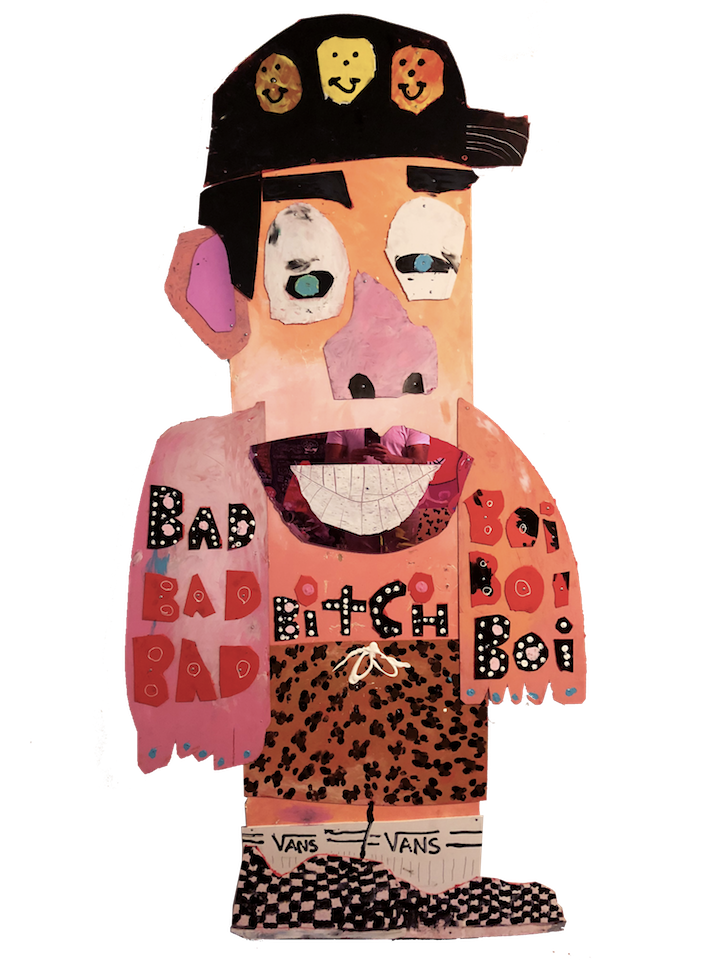 BAD BITCH BOI   Wood, Plastic, PVC, Acrylic, Mirror  4 feet x 8 feet  2018