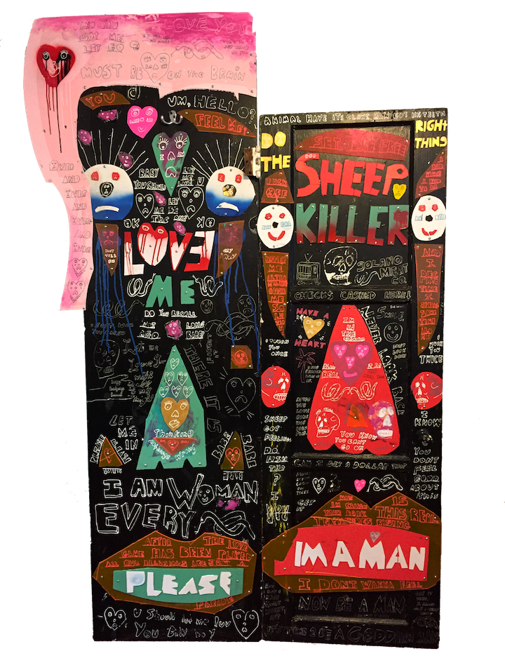 A Sheep Killer and His Wife   Wood, Plastic, PVC, Mirror, White-Out, Acrylic  5 feet x 8 feet  2017