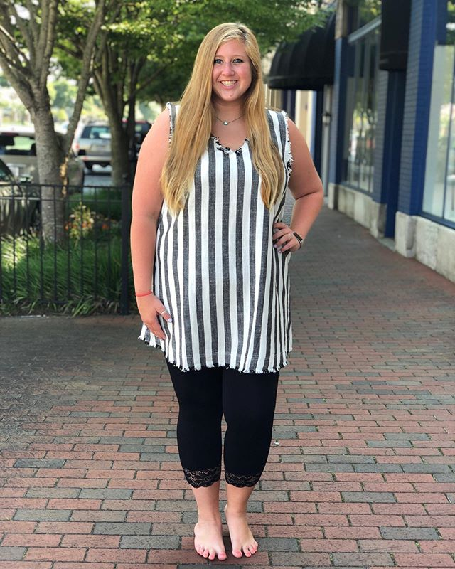 Simply stripped! This dress is available in sizes small, medium, large, x-large, and 2x!