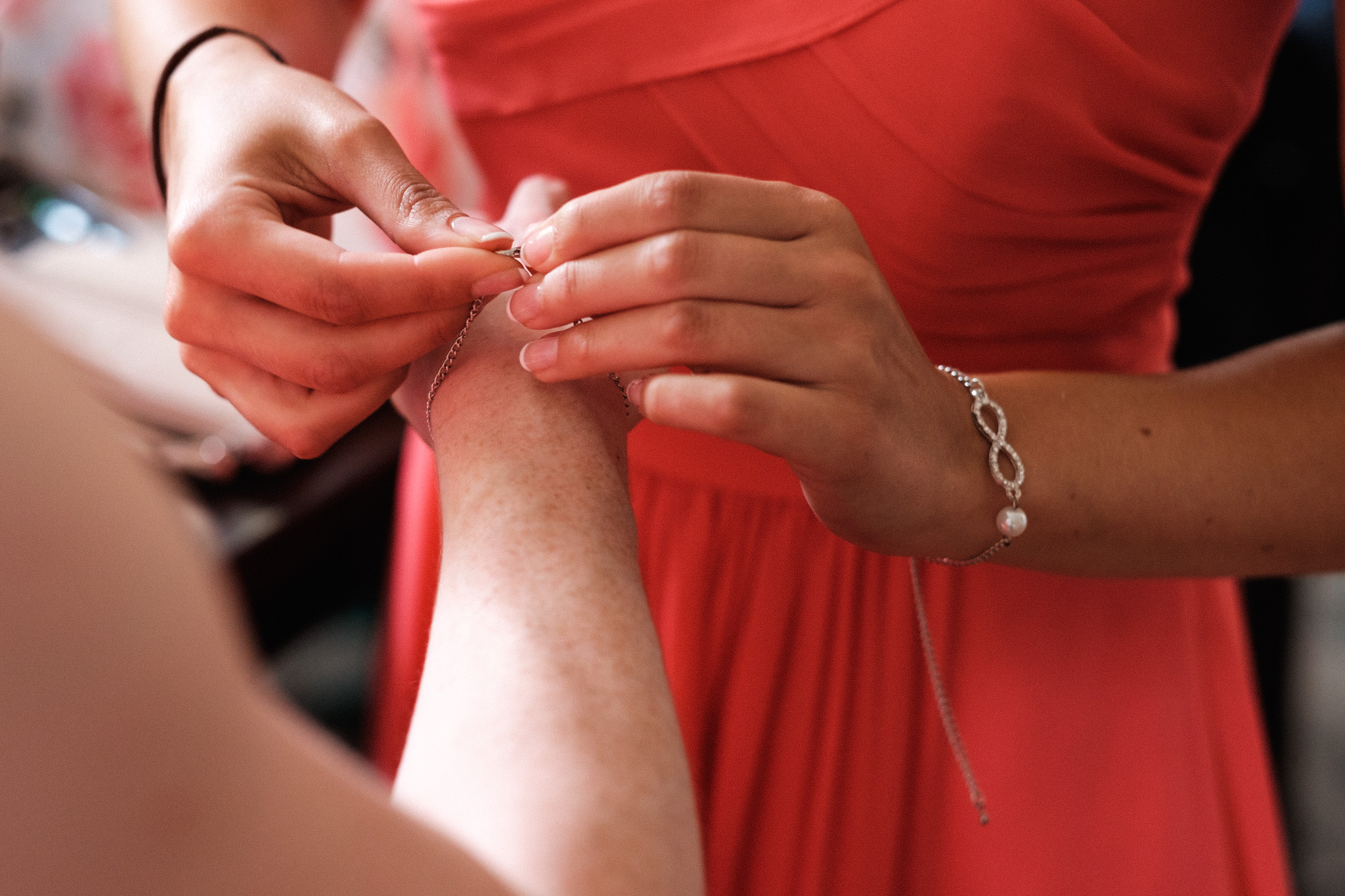 Bridesmaid bracelets.