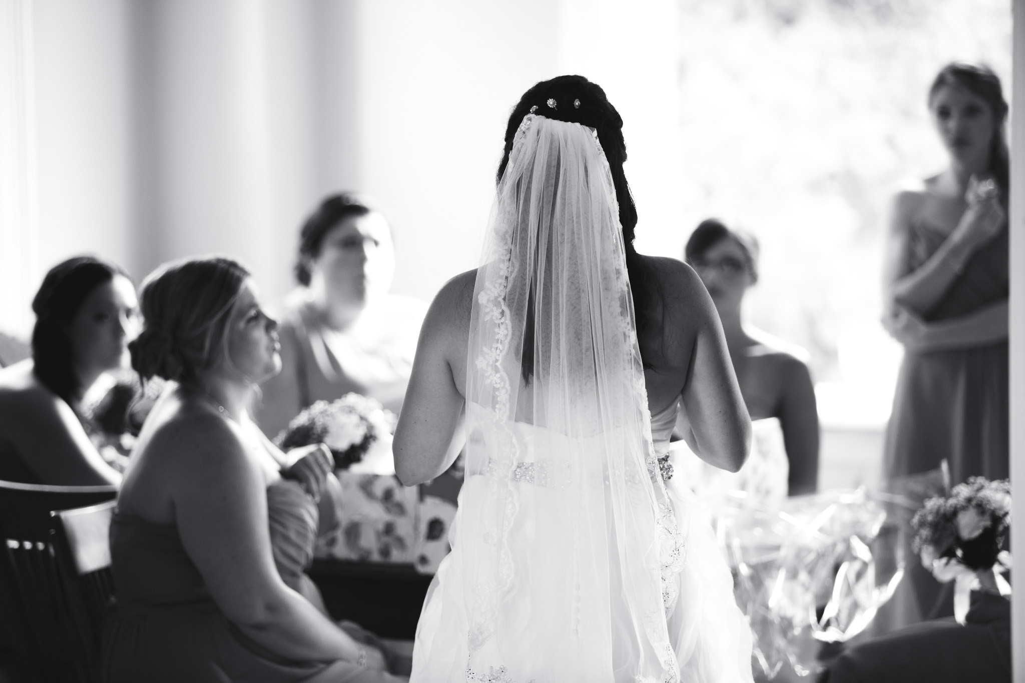 Last minute words to the bridesmaids.