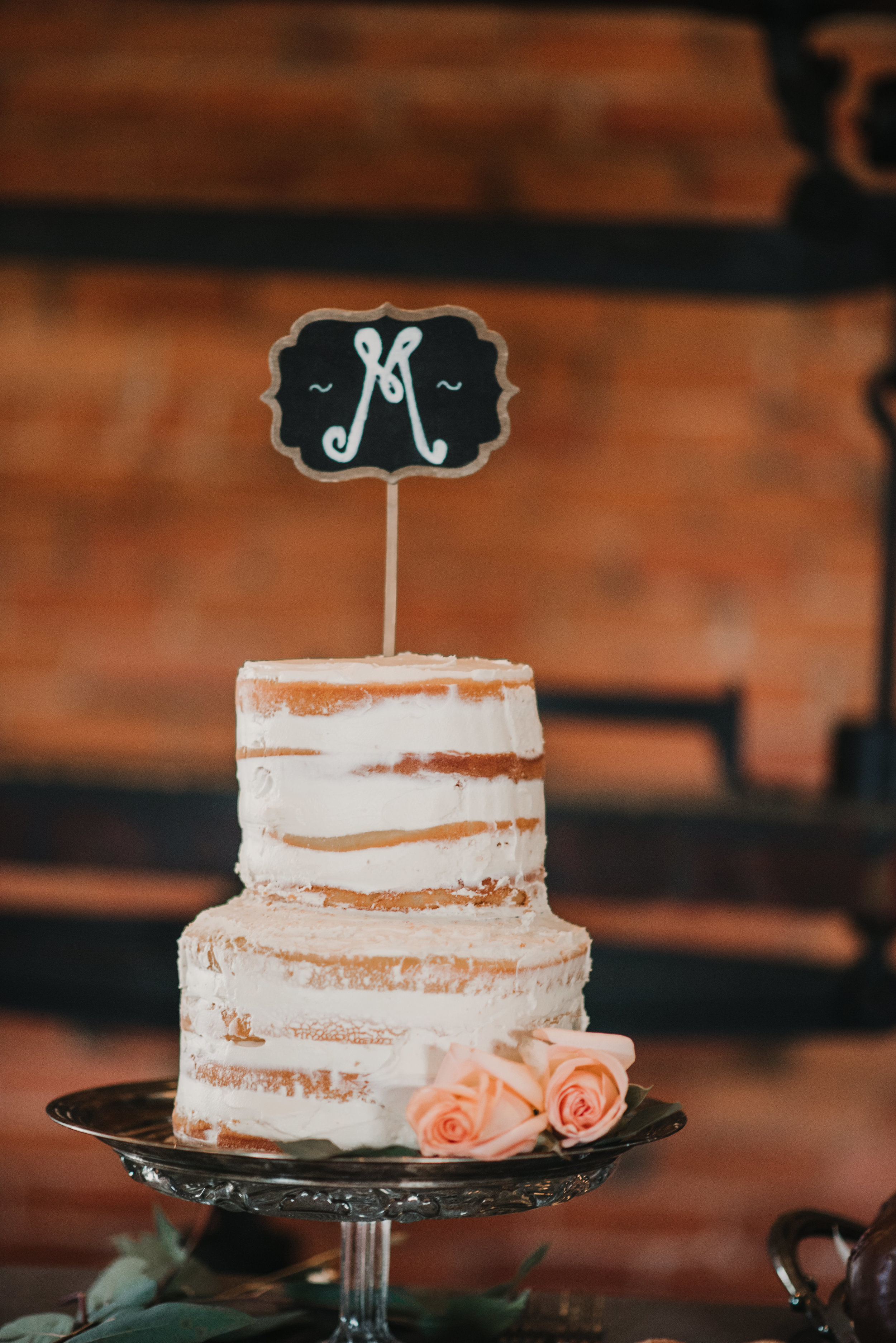 Wedding cake with initial cake topper