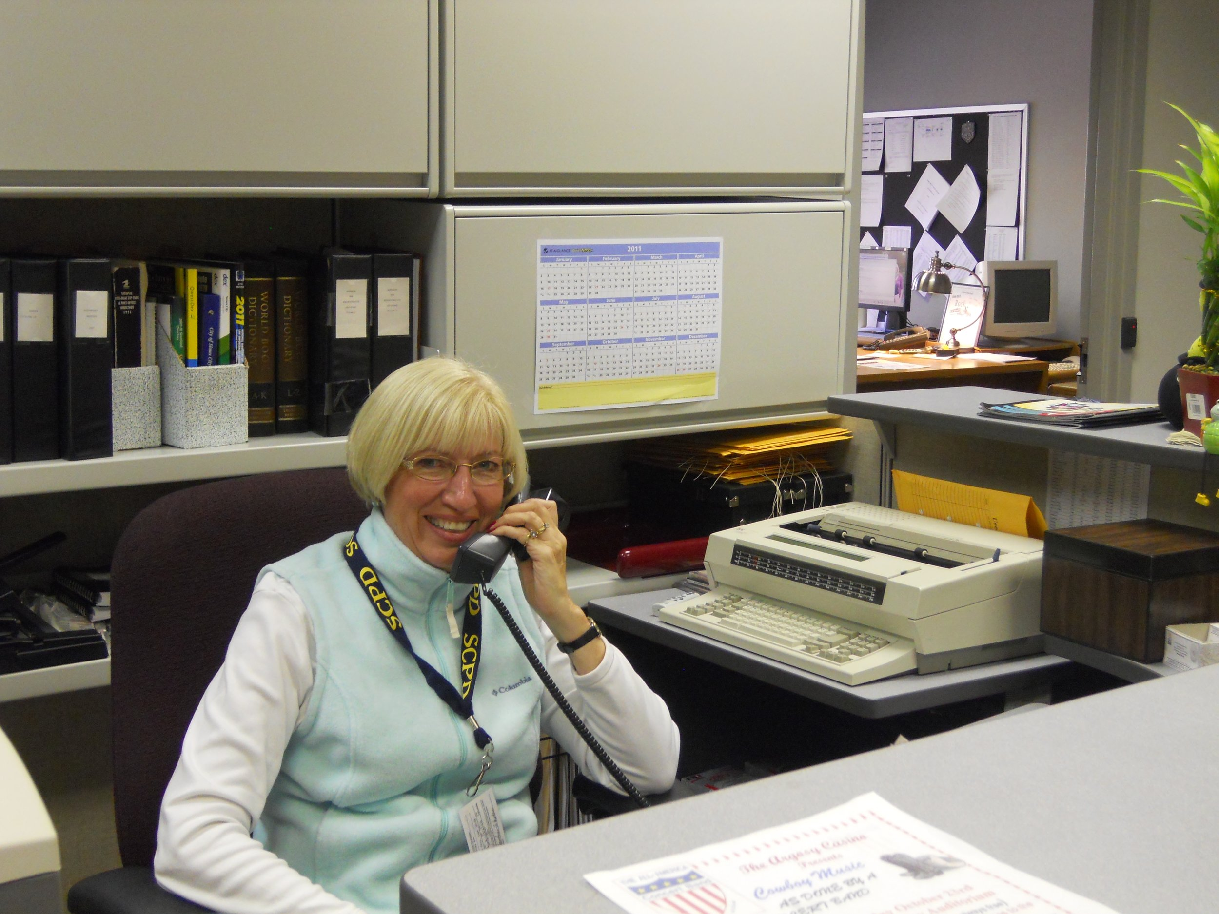Pam assisting as a clerical volunteer in Police Administration