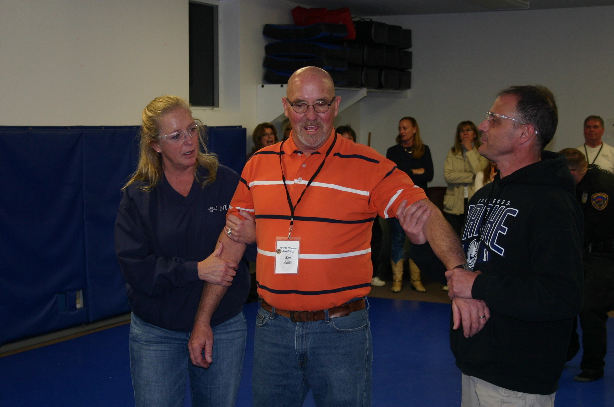 A participant gets ready to be tased by the X-26 Taser.
