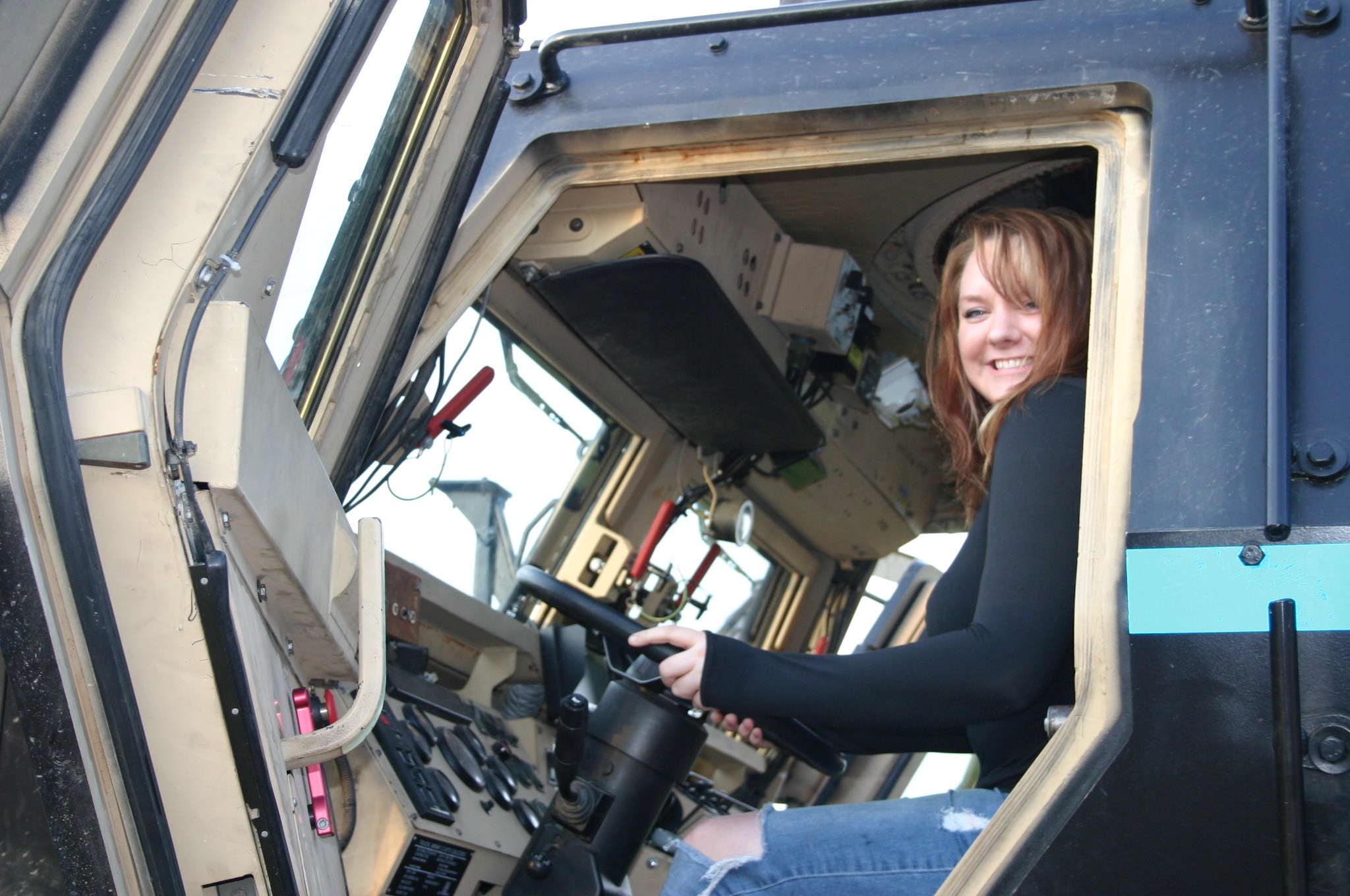 In the driver's seat of the Rescue Vehicle.