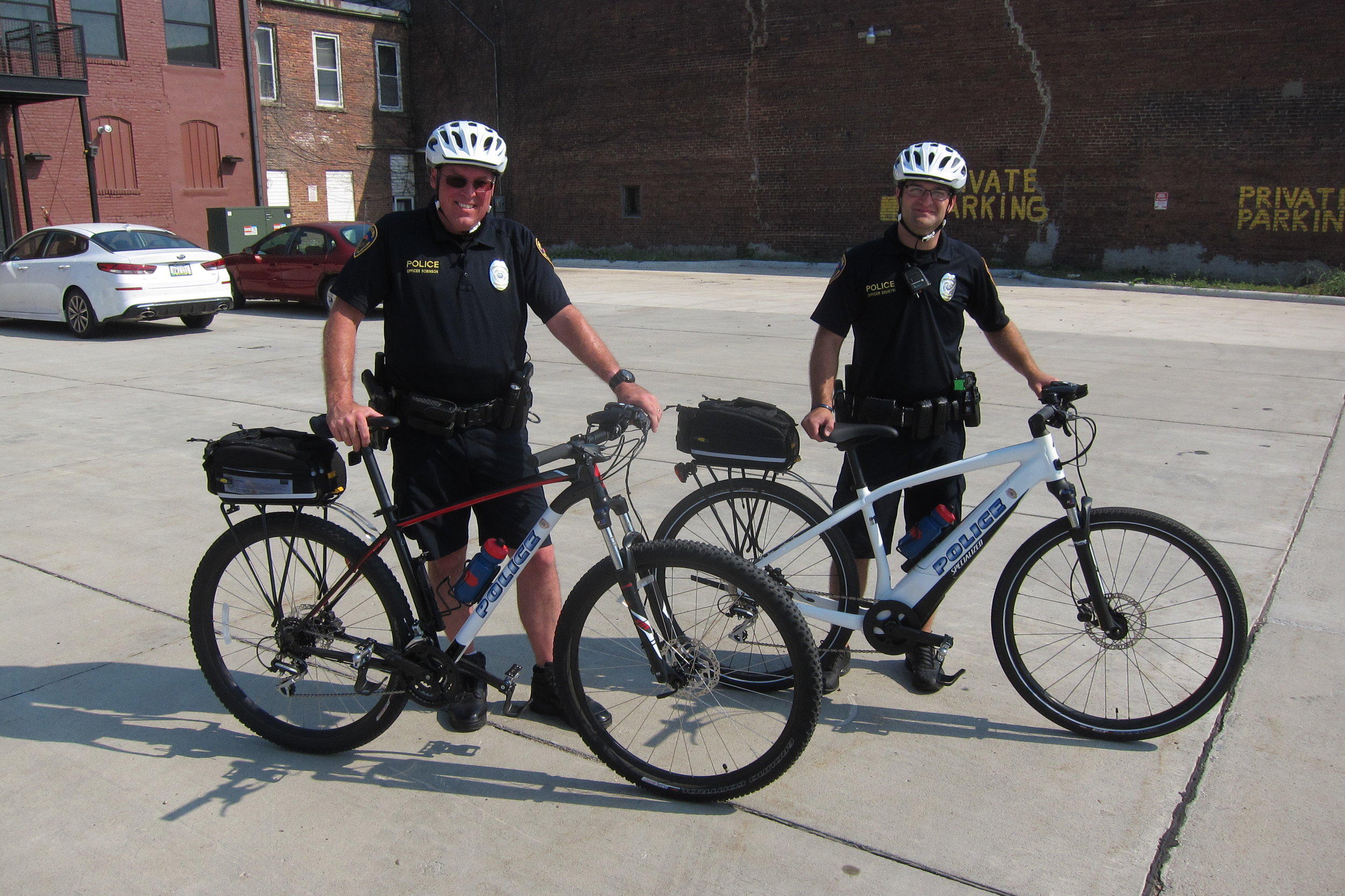 Officers Shawn Robinson and Jeff Demetri are two of the officers trained for bike patrol. The SCPD started the program in an effort to continue build partnerships with the community and make officers more approachable.