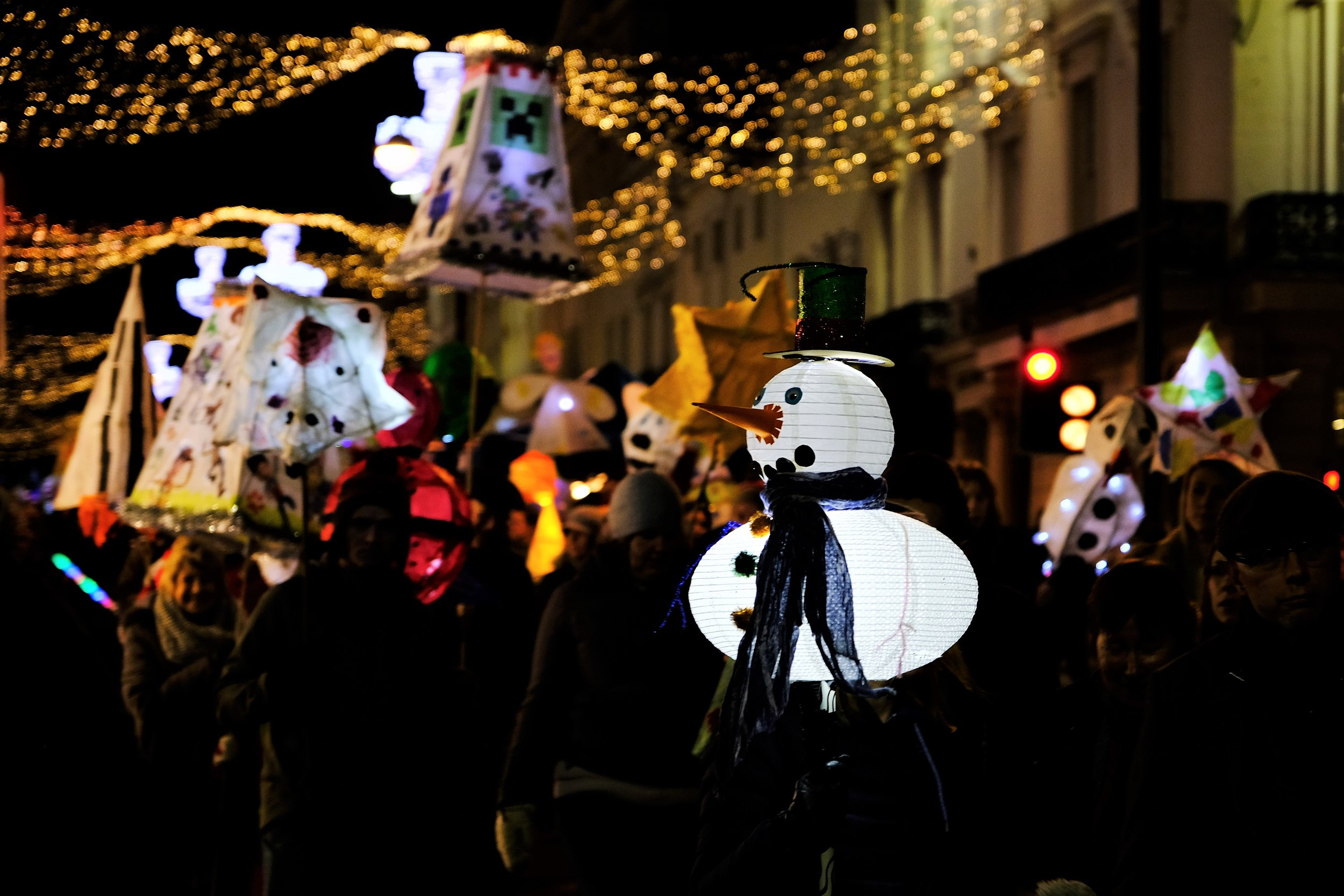 Leamington Spa Event photographer - town carnival leamington lantern parade snowman warwickshire.JPG