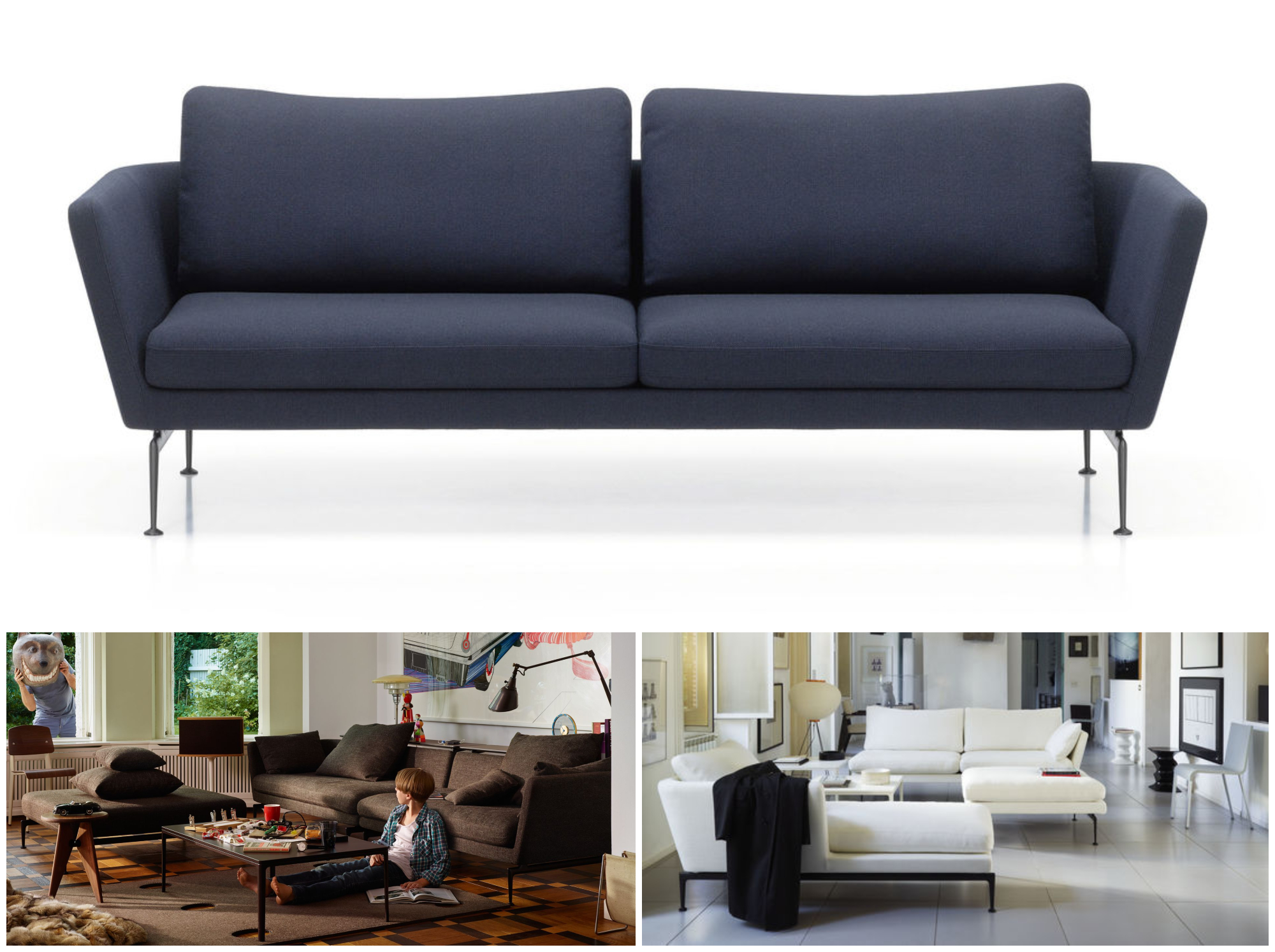 SUITA SOFA FAMILY - ANTONIO CITTERIO, 2010  CHARACTERISED BY AN ELEGANT TECHNOLOGICAL AESTHETIC, THE SUITA SOFA FAMILY COMPRISES MANY DIFFERENT COMPONENTS. THESE CAN BE USED AS INDEPENDENT ELEMENTS OR FREELY COMBINED TO ADAPT TO ALL KINDS OF INTERIOR ENVIRONMENTS AND FURNISHING NEEDS. THE SEAT AND BACK CUSHIONS ARE AVAILABLE IN FIRM OR SOFT VERSIONS. THE GEOMETRICALLY PRECISE BODY AND CUSHIONS SEEM TO FLOAT ABOVE THE SLEEK, BRIDGE-LIKE ALUMINIUM LEGS, WHICH CAN BE SEEN AS A TRIBUTE TO MID-CENTURY AMERICAN DESIGN.