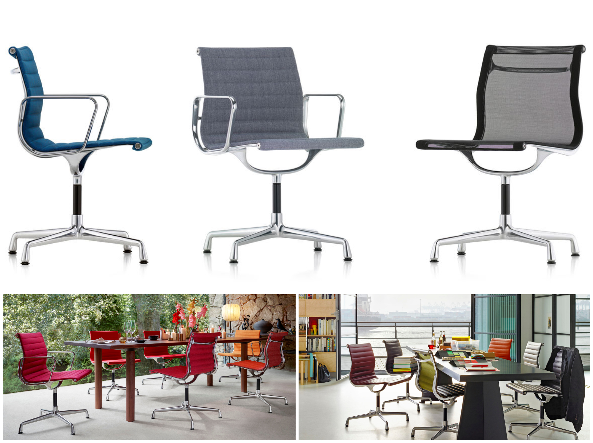 ALUMINIUM CHAIRS - CHARLES & RAY EAMES, 1958  THE ALUMINIUM CHAIR IS ONE OF THE GREAT FURNITURE DESIGNS OF THE TWENTIETH CENTURY. CHARLES AND RAY EAMES CONCEIVED AND DEVELOPED THIS CHAIR IN 1958 FOR THE PRIVATE RESIDENCE OF AN ART COLLECTOR IN COLUMBUS, INDIANA (USA).