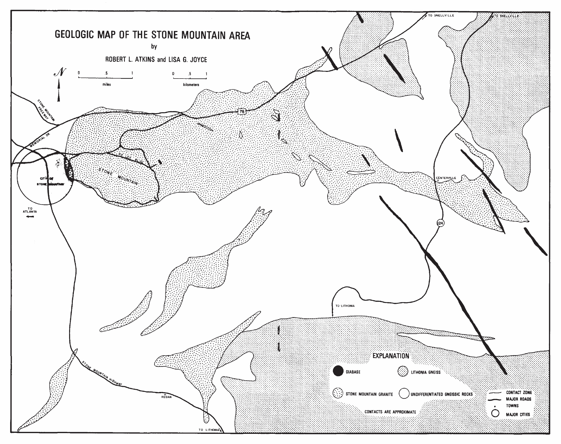 Map created by Robert L. Atkins and Lisa G. Joyce.  Published in  Geologic Guide to Stone Mountain Park , 1980.