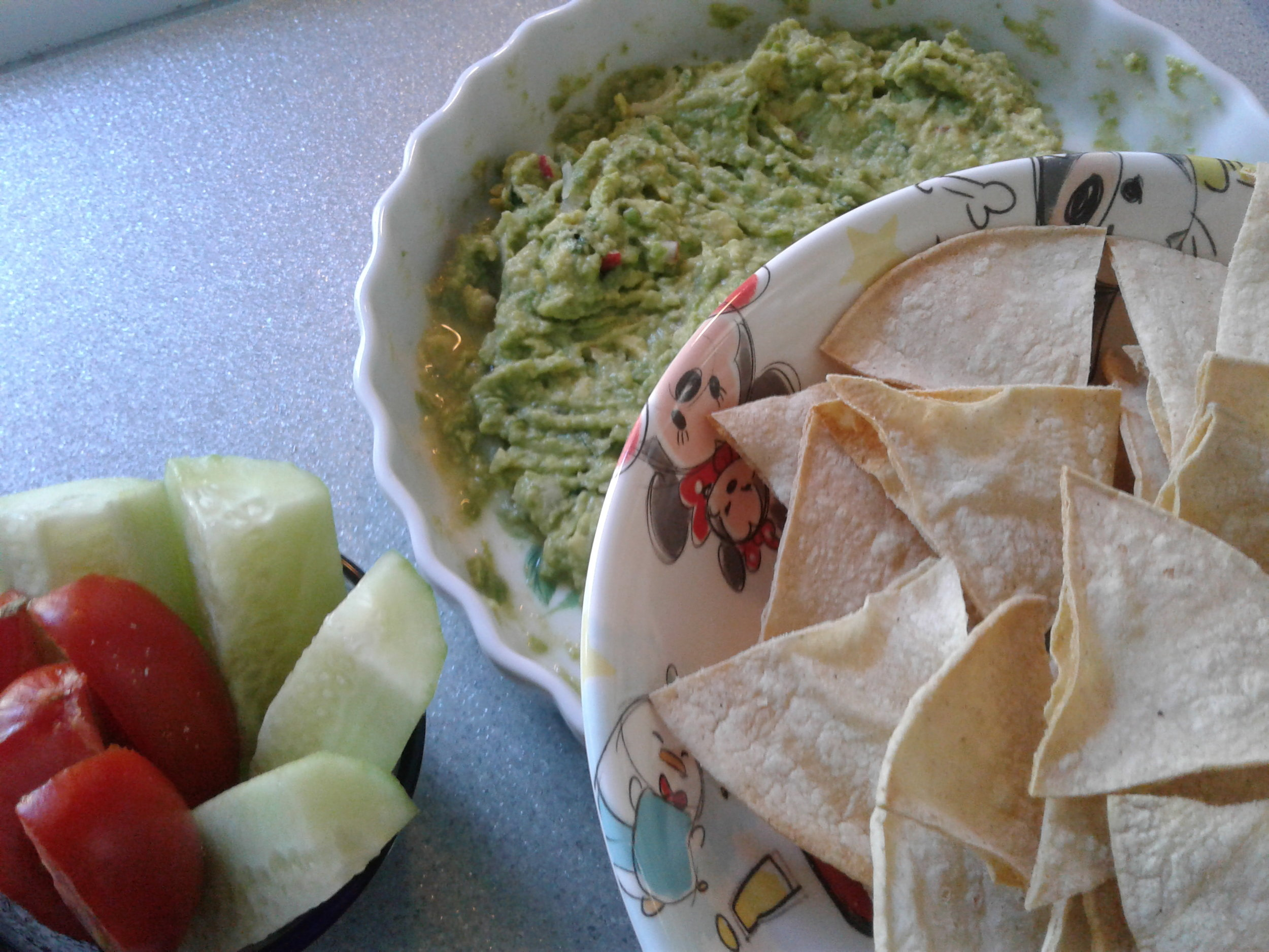Baked Corn Tortillas Homemade Guacamole Cucumber wedges Roma tomato.jpg