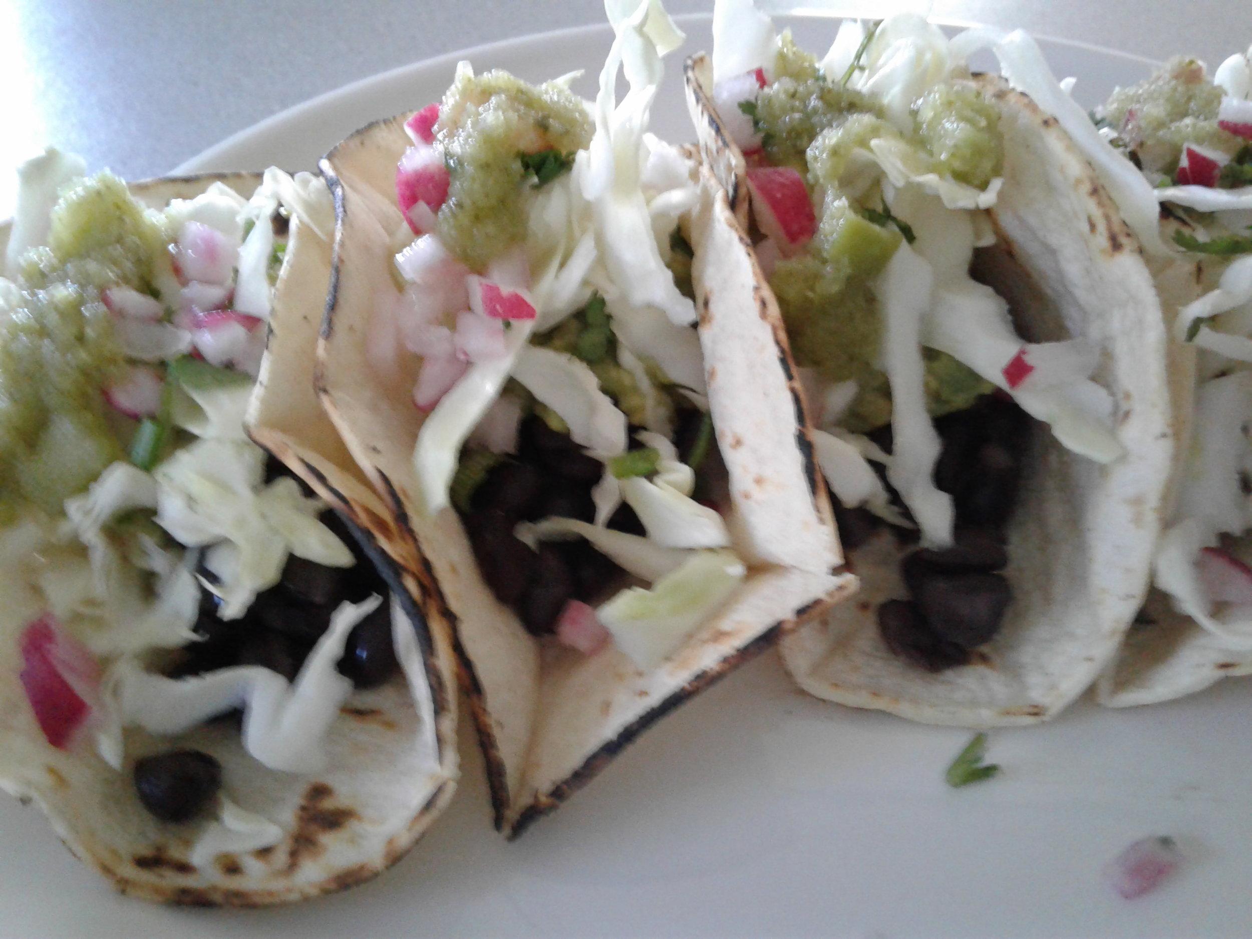 Soaked Black bean tacos Corn Tortilla Cabbage Radish Tomatilla Sauce Cilantro Lime.jpg