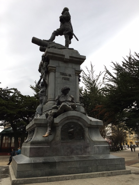 A colonialist statue to Magellan and the native peoples of Southern Chile, with a good-luck toe rubbed to a bronze hue.
