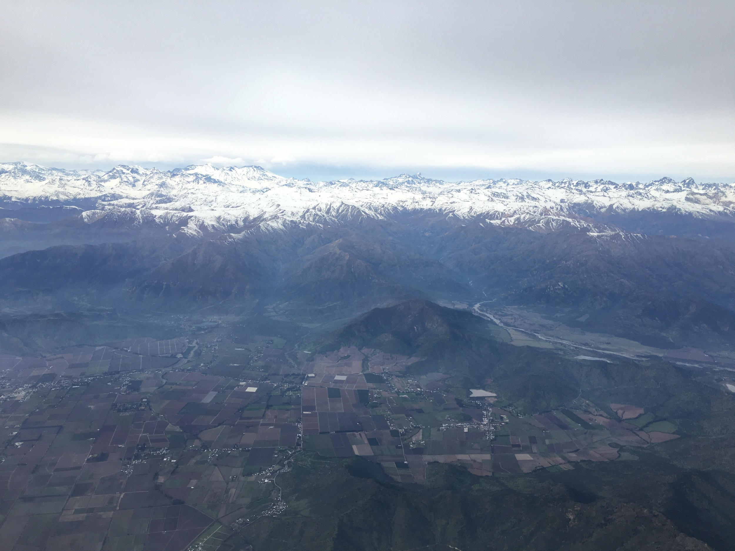 The Chilean Andies as we leave Santiago toward Punta Arenas.