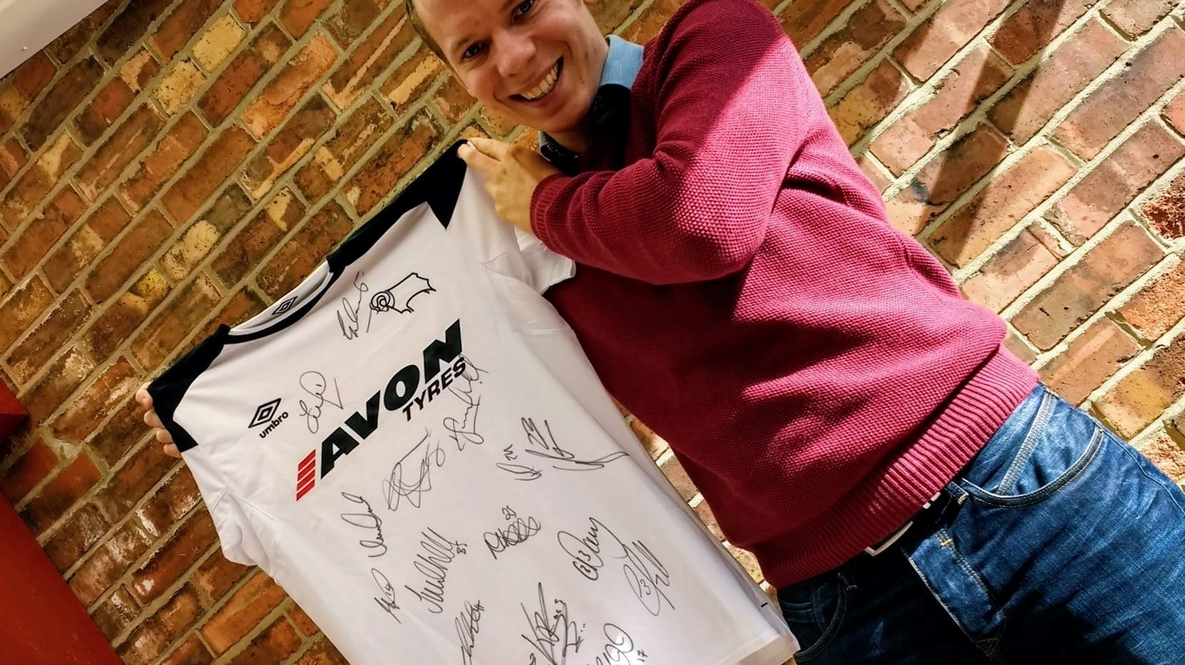 Signed Derby County FC football shirt -