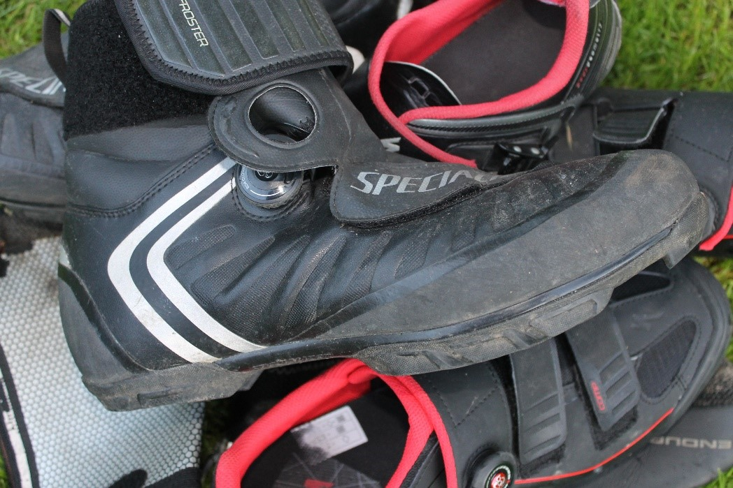 3. Shoes - It is going to be freeeeezing but I want to keep my feet from turning blue, so I need some good shoes. Cycling shoes clip into the pedals. I have a few pairs of these as well as a more waterproof ones and neoprene overshoes.