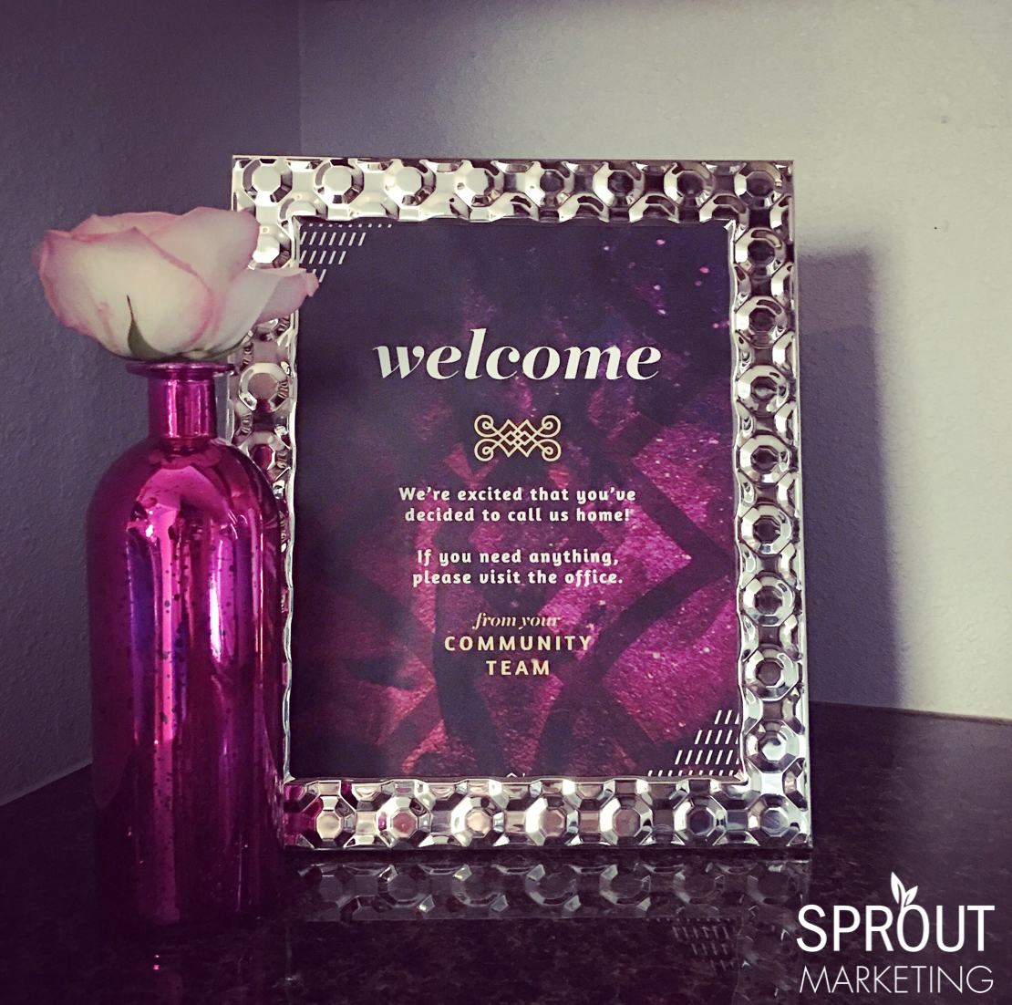 Want to welcome all of your new residents at one time? Stage a welcome center in your leasing office with a framed welcome design, fresh flowers, and some sweet treats! Invite all new residents to stop by for a treat and to meet their neighbors.