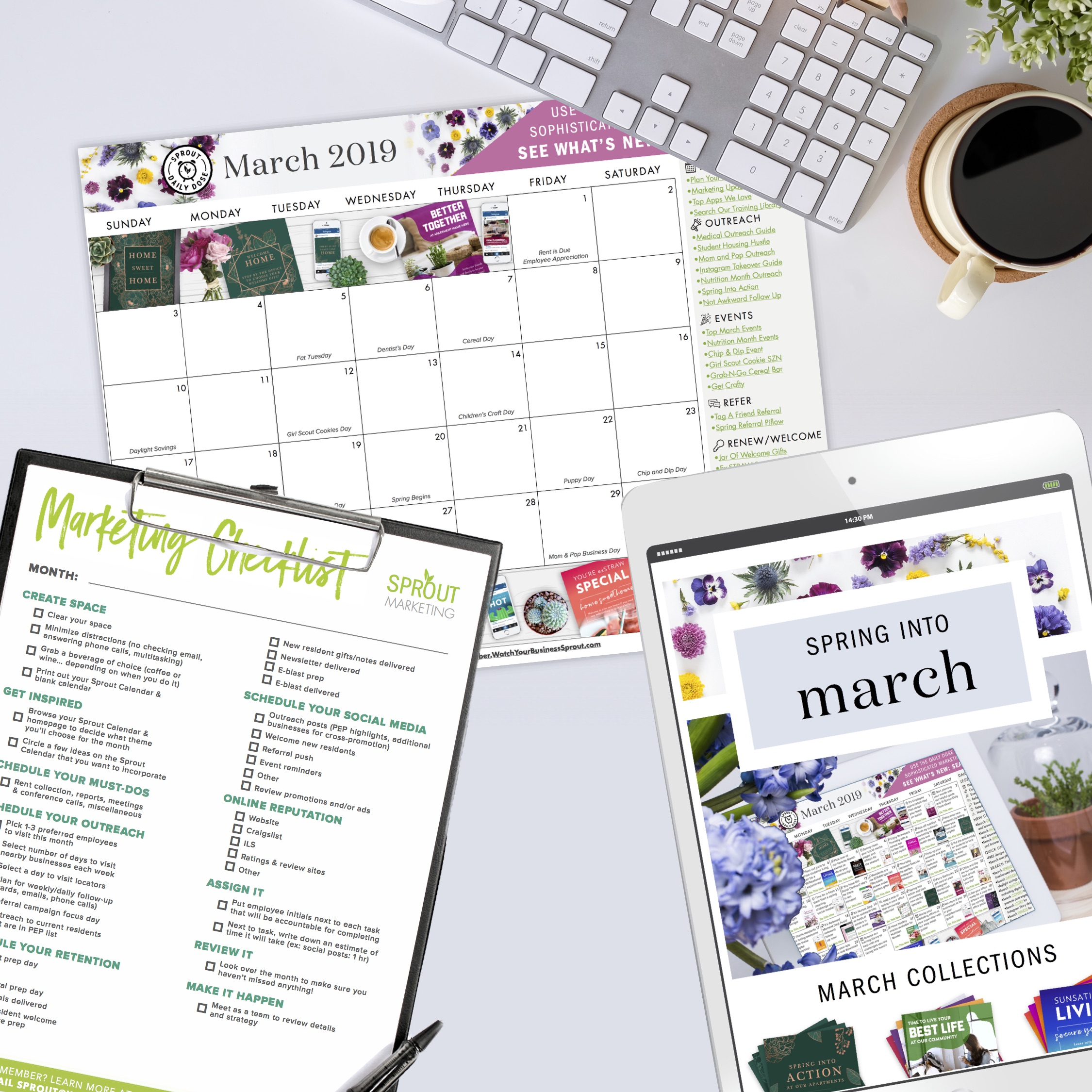 Start Here:Your planning kit - Sprout Ideas CalendarBlank Monthly CalendarBlank Weekly CalendarMarketing Checklist