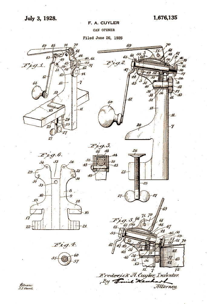 Schematic from can-opener patent by Frederick Cuyler