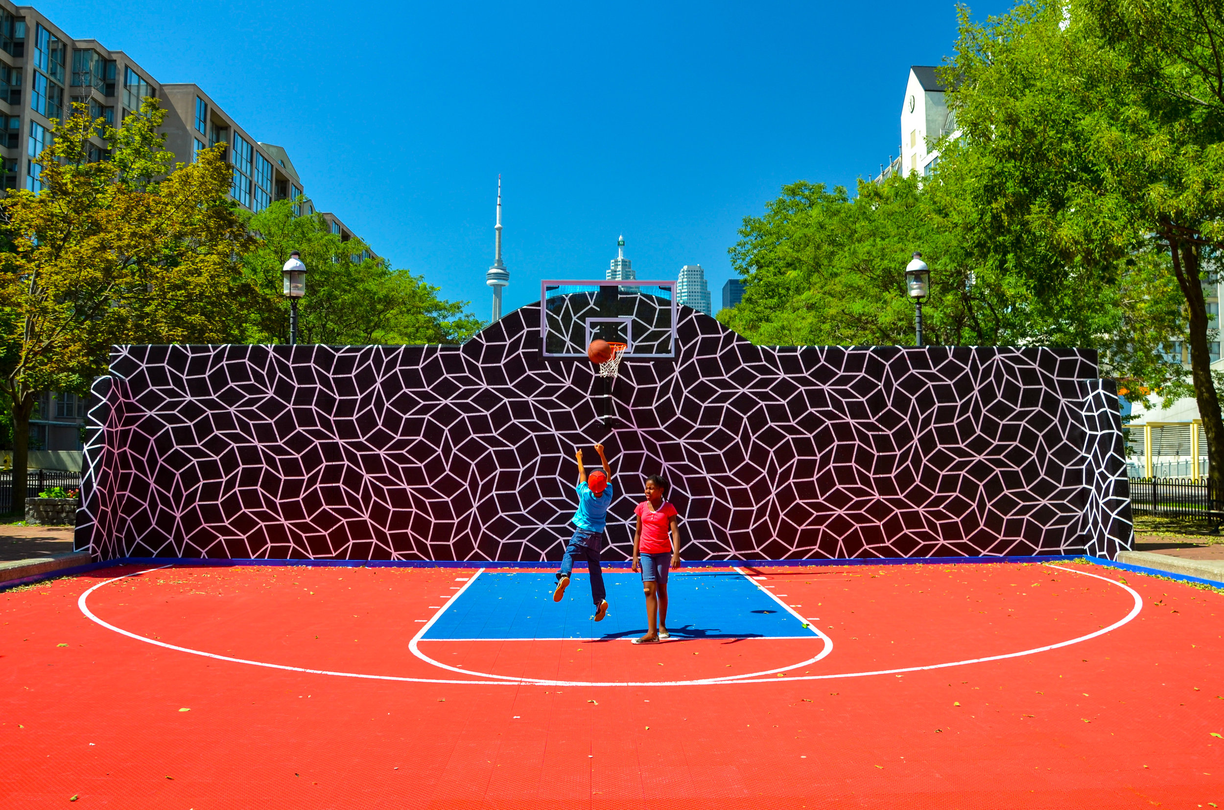 Basket ball court mural