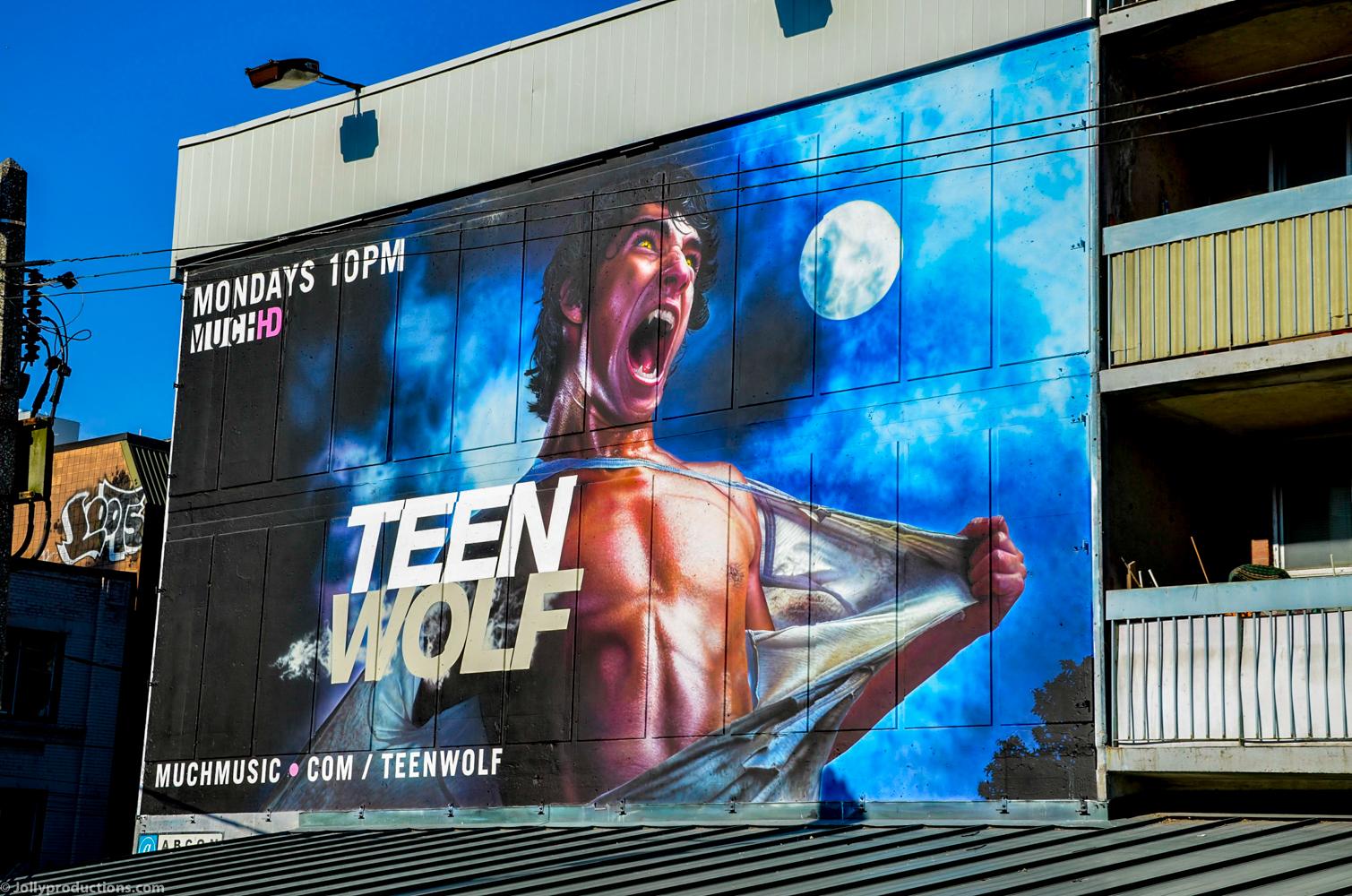 Painted teen wolf mural