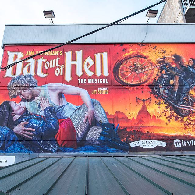 Going a little batty at (Queen and John) . Mural painted late 2017 for Mirvish's 'Bat out of Hell' the musical.  #batoutofhell #mirvish #alwayshandpaint #handpaintedsigns #upholdingthecraft #mural #richardcorben