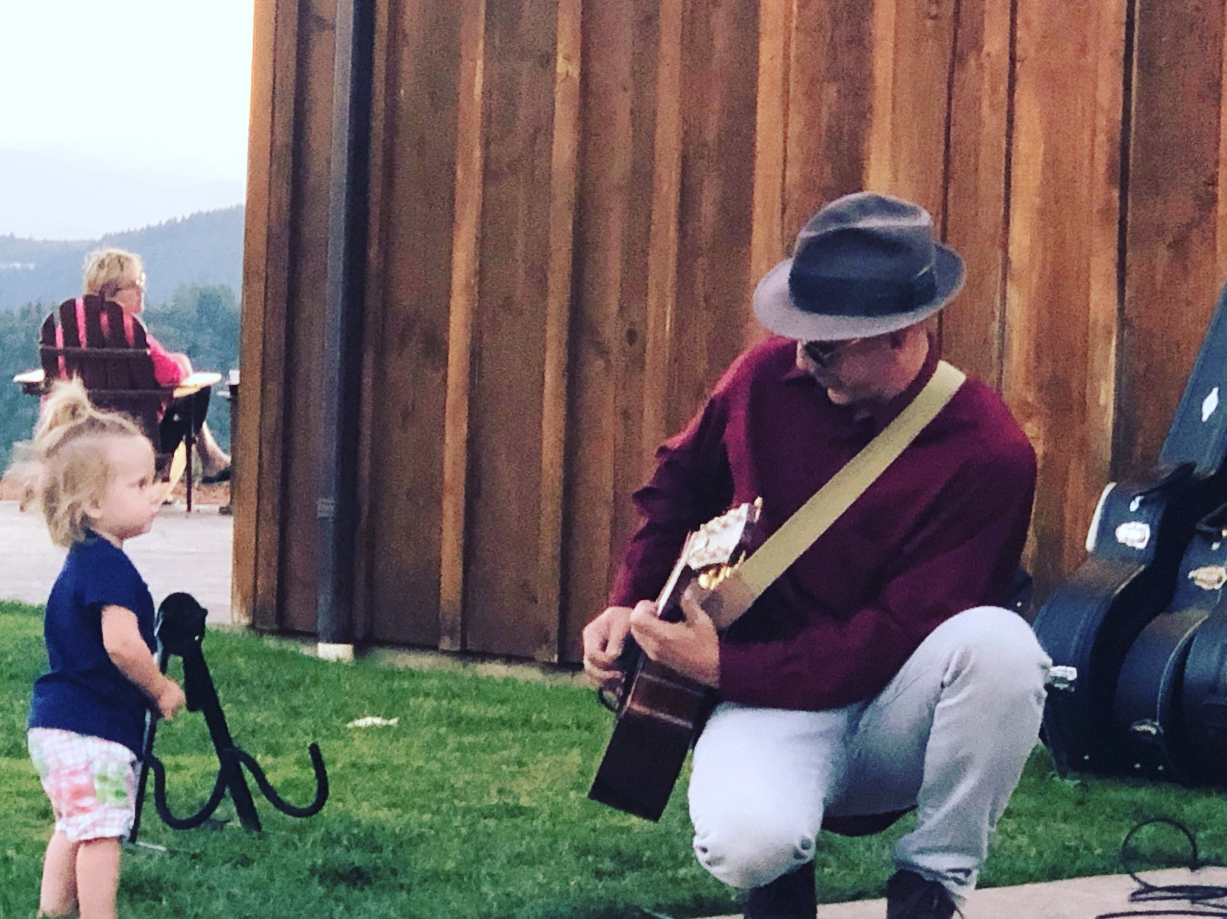 Purusa is for all ages - Zach and a fan, Youngberg Hill Winery 9/4/19