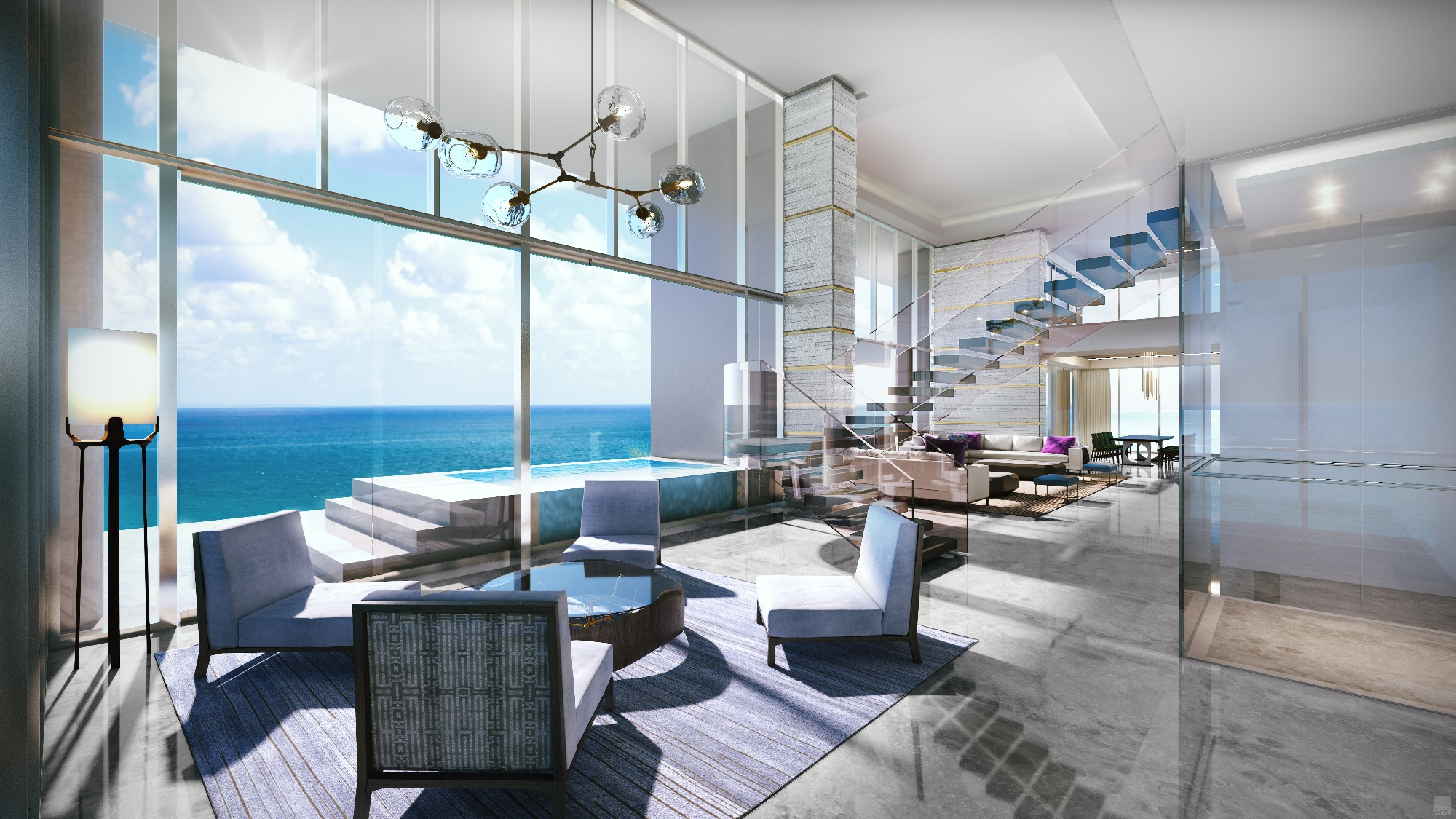 L'Atelier Penthouse living room, Miami Beach