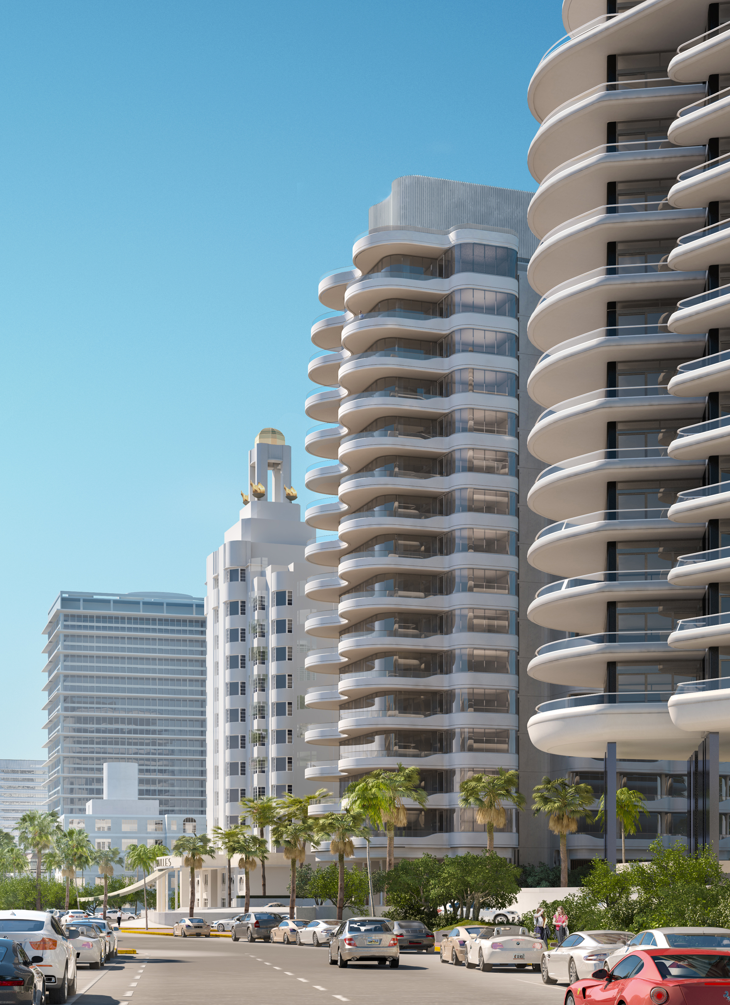 Faena Mar (centre)engages both with the contemporary Faena House to the south and the historic Versailles Hotel to the north