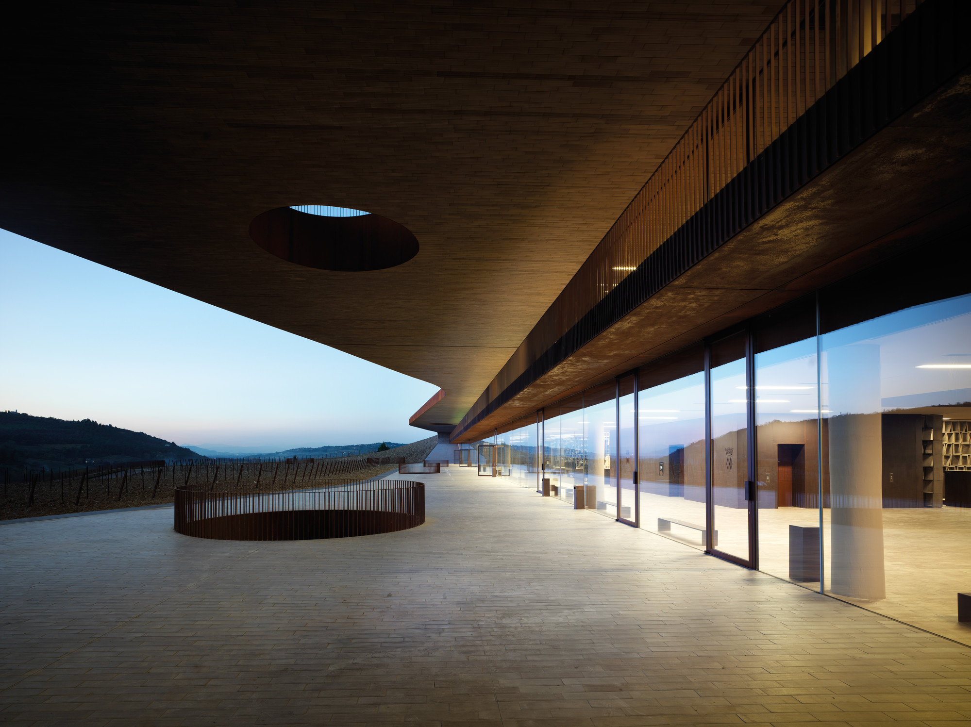 Cantina Antinori was designed by Archea Associati to blend into the hillside