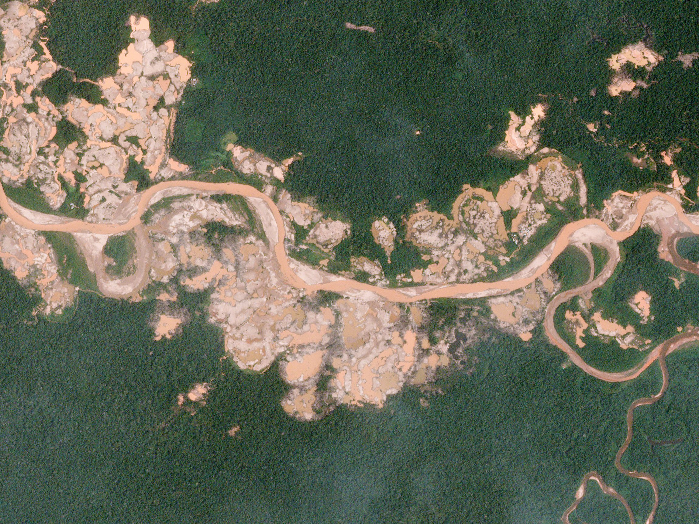 An image of La Pampa, Peru, an active mining site
